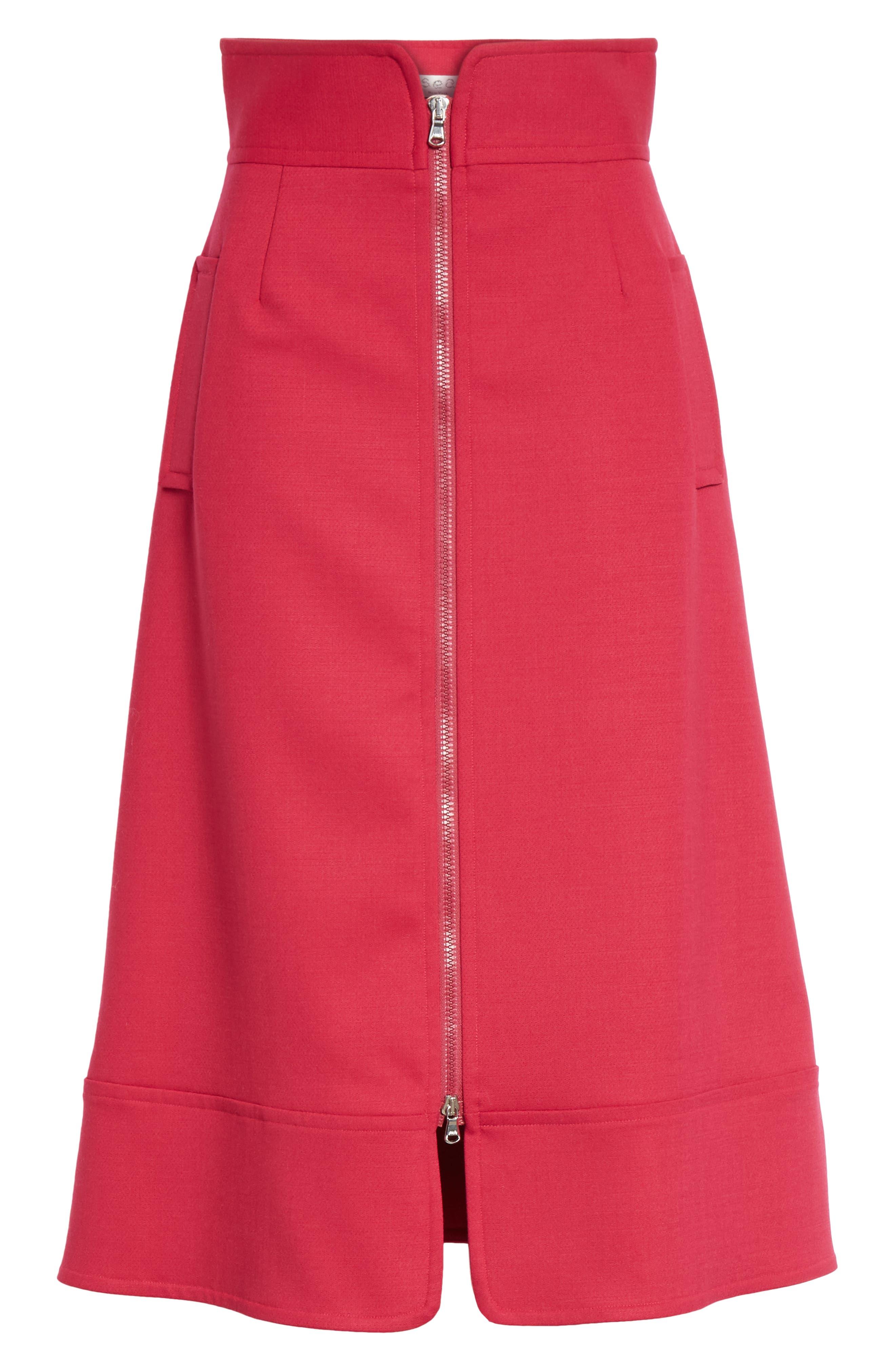 Zip Front A-Line Skirt,                             Alternate thumbnail 6, color,                             FUCHSIA