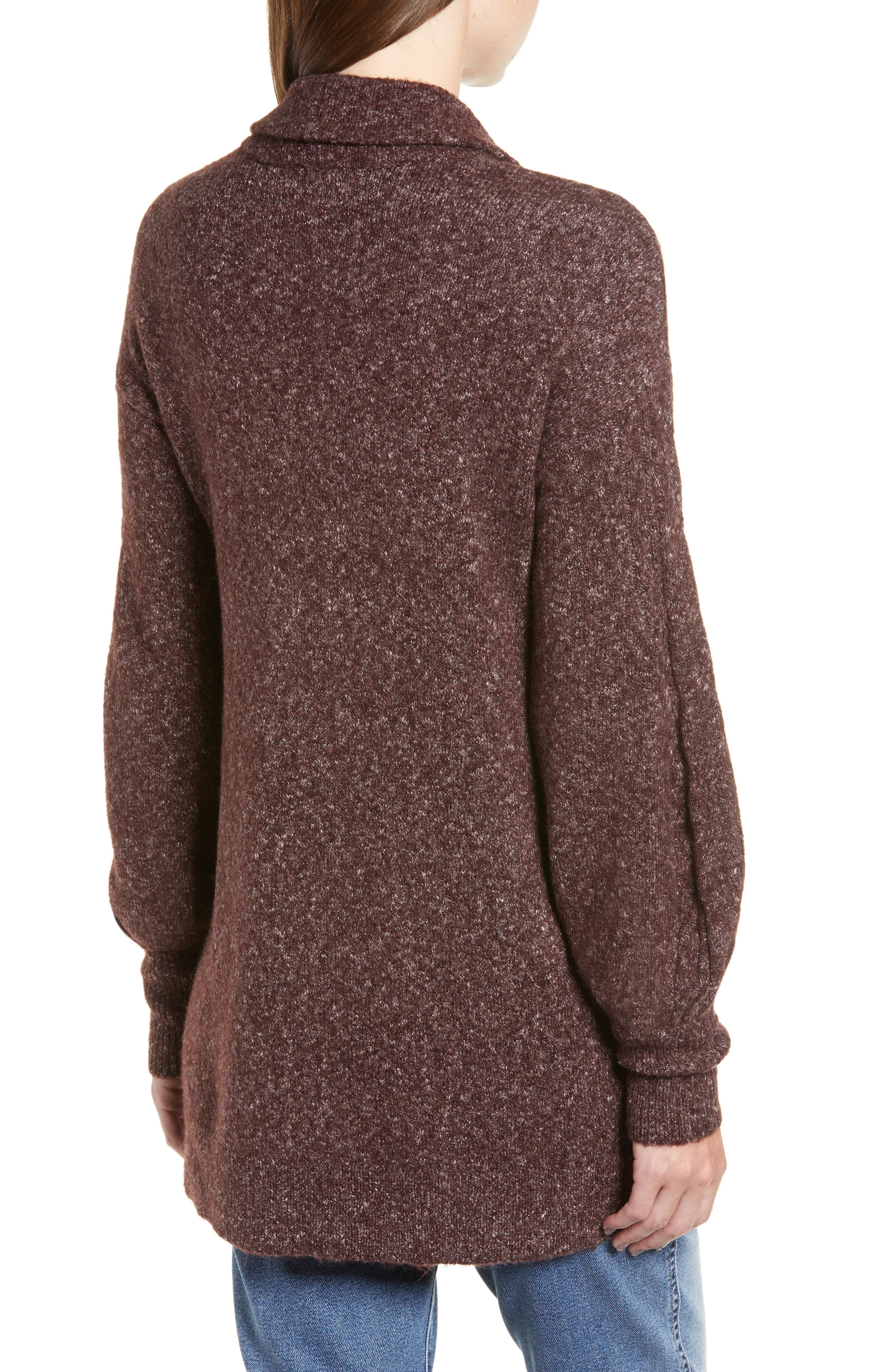 Longline Cardigan,                             Alternate thumbnail 2, color,                             BURGUNDY FUDGE