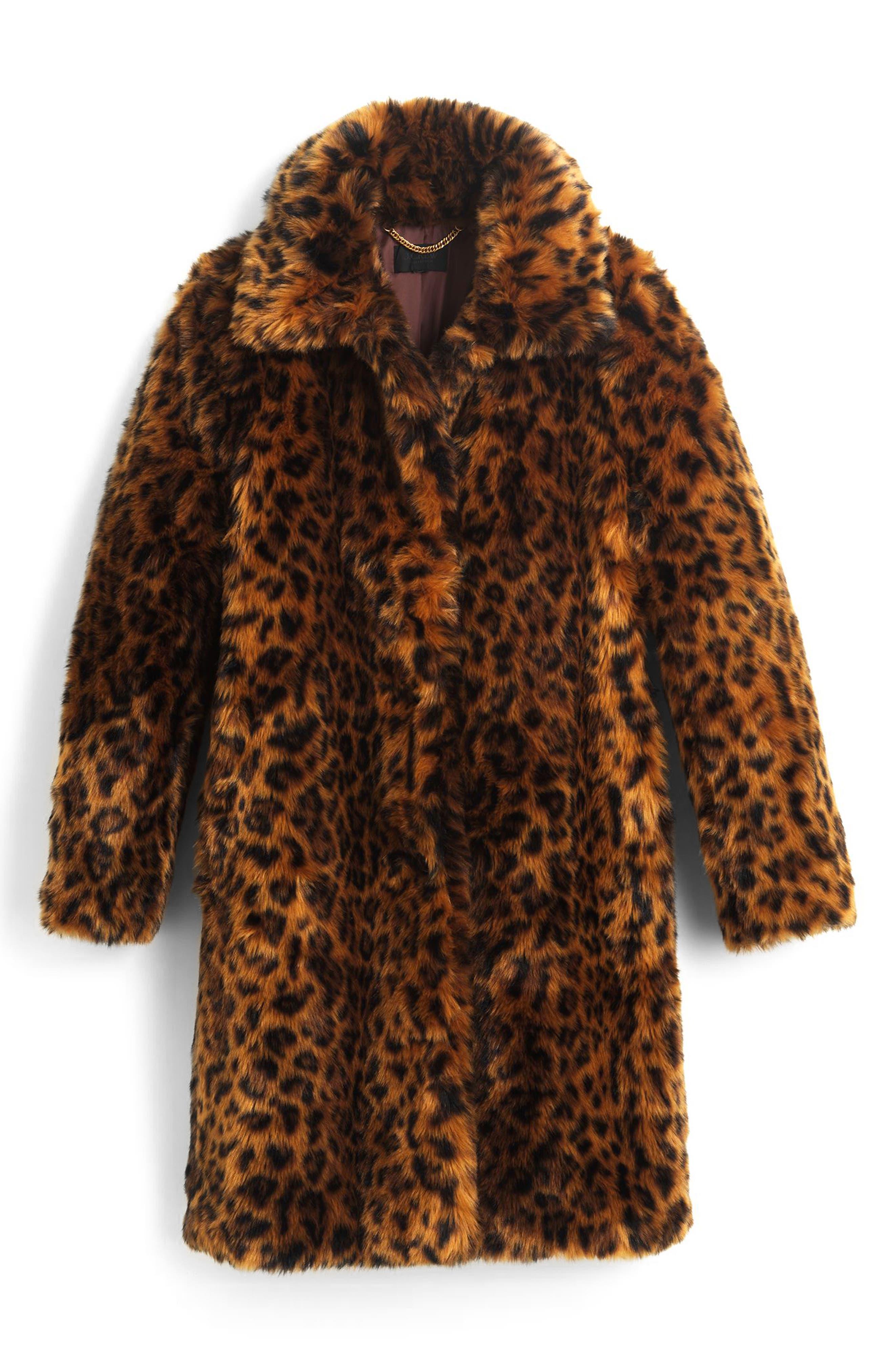 Leopard Print Faux Fur Coat,                             Alternate thumbnail 6, color,                             LEOPARD