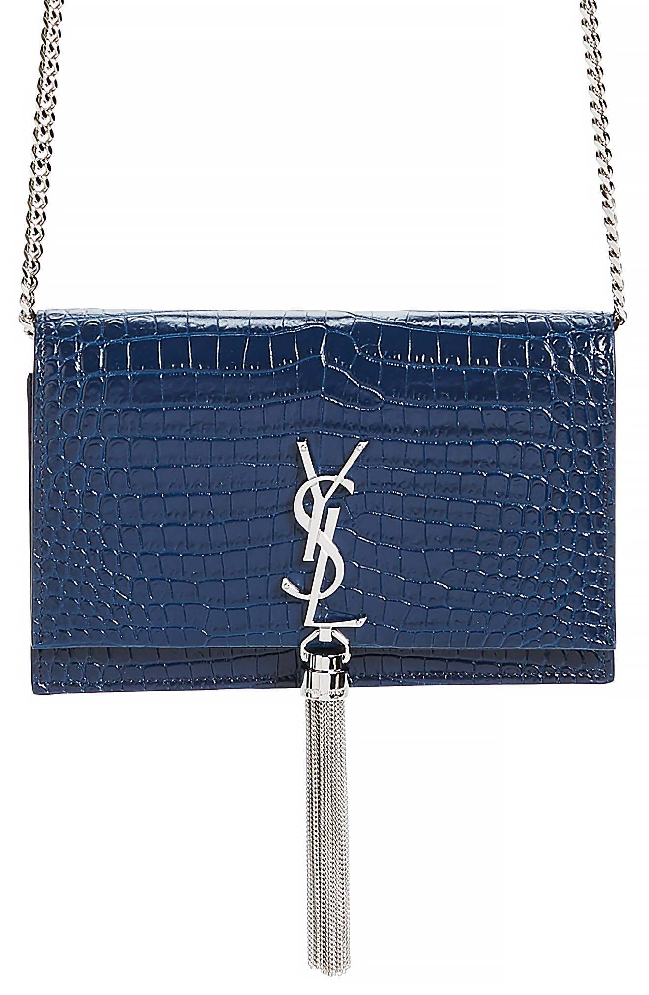 Kate Croc Embossed Leather Wallet on a Chain,                         Main,                         color, DENIM BLUE/ DENIM BLUE