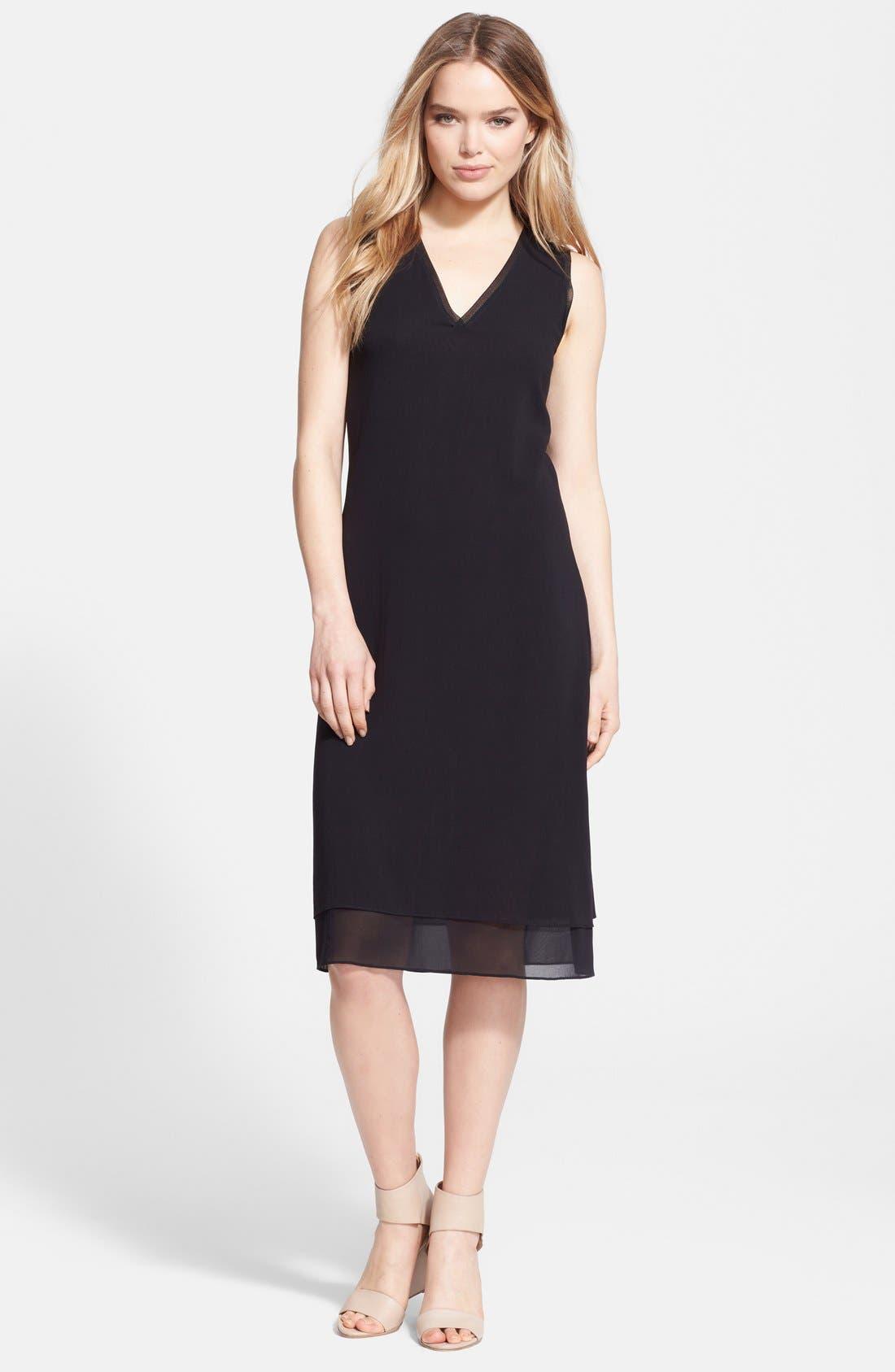 Rib Trim V-Neck Dress,                         Main,                         color, 011