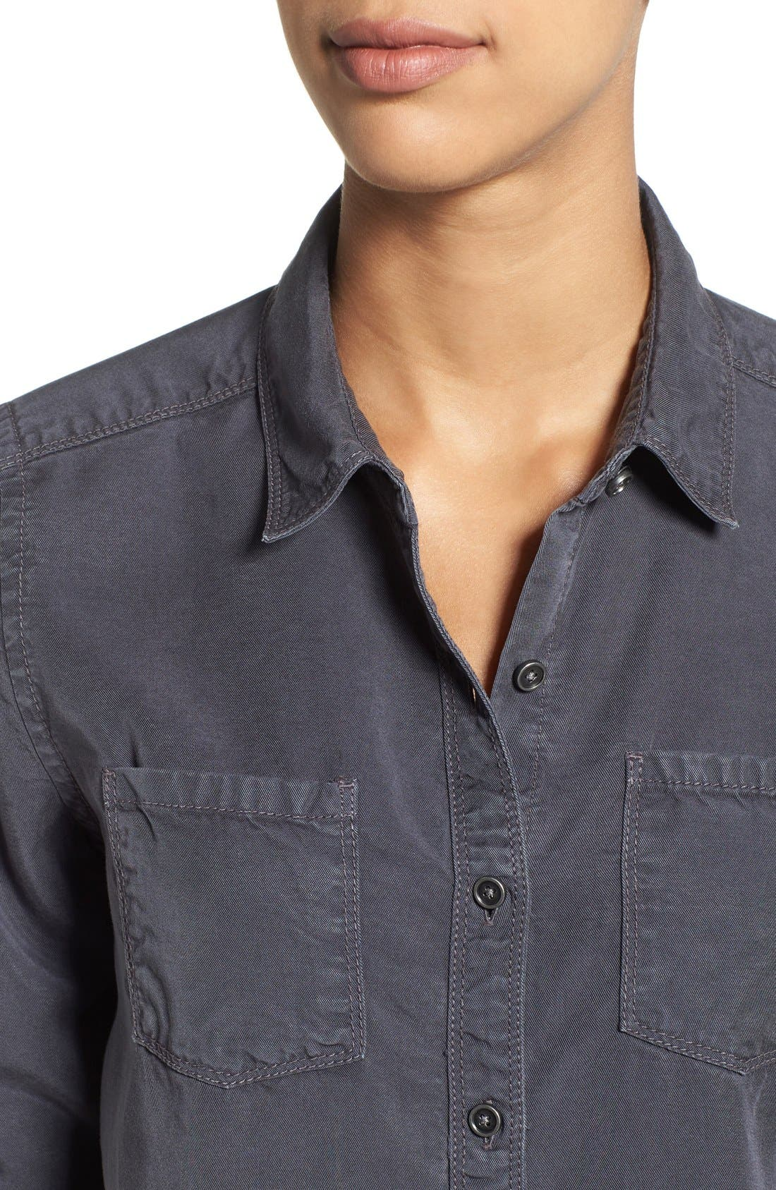 CASLON<SUP>®</SUP>,                             Long Sleeve Denim Shirt,                             Alternate thumbnail 4, color,                             030