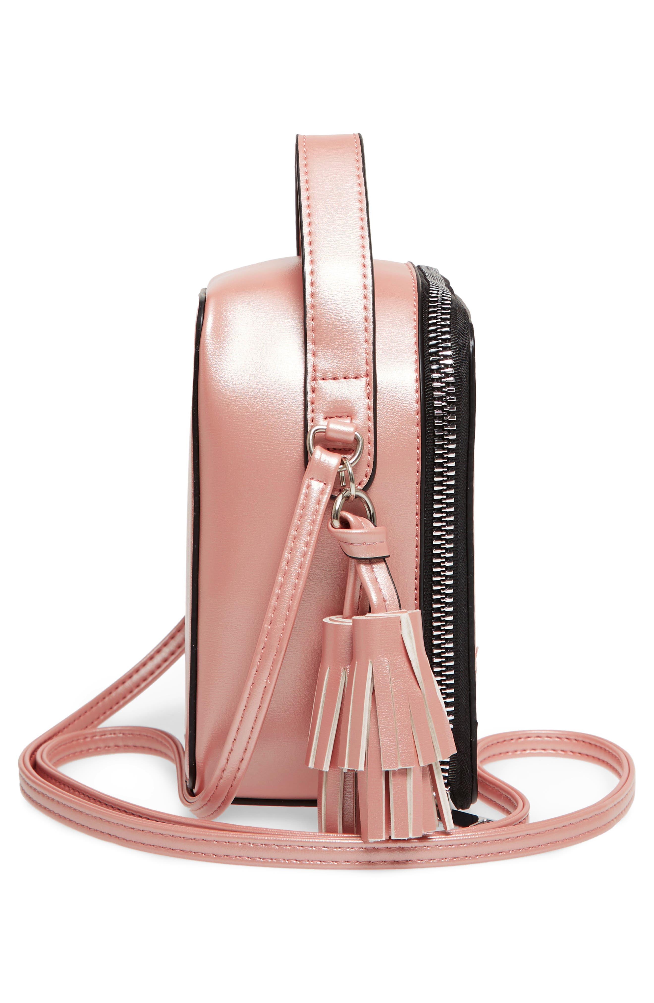 Tassel Metallic Faux Leather Box Bag,                             Alternate thumbnail 5, color,                             710