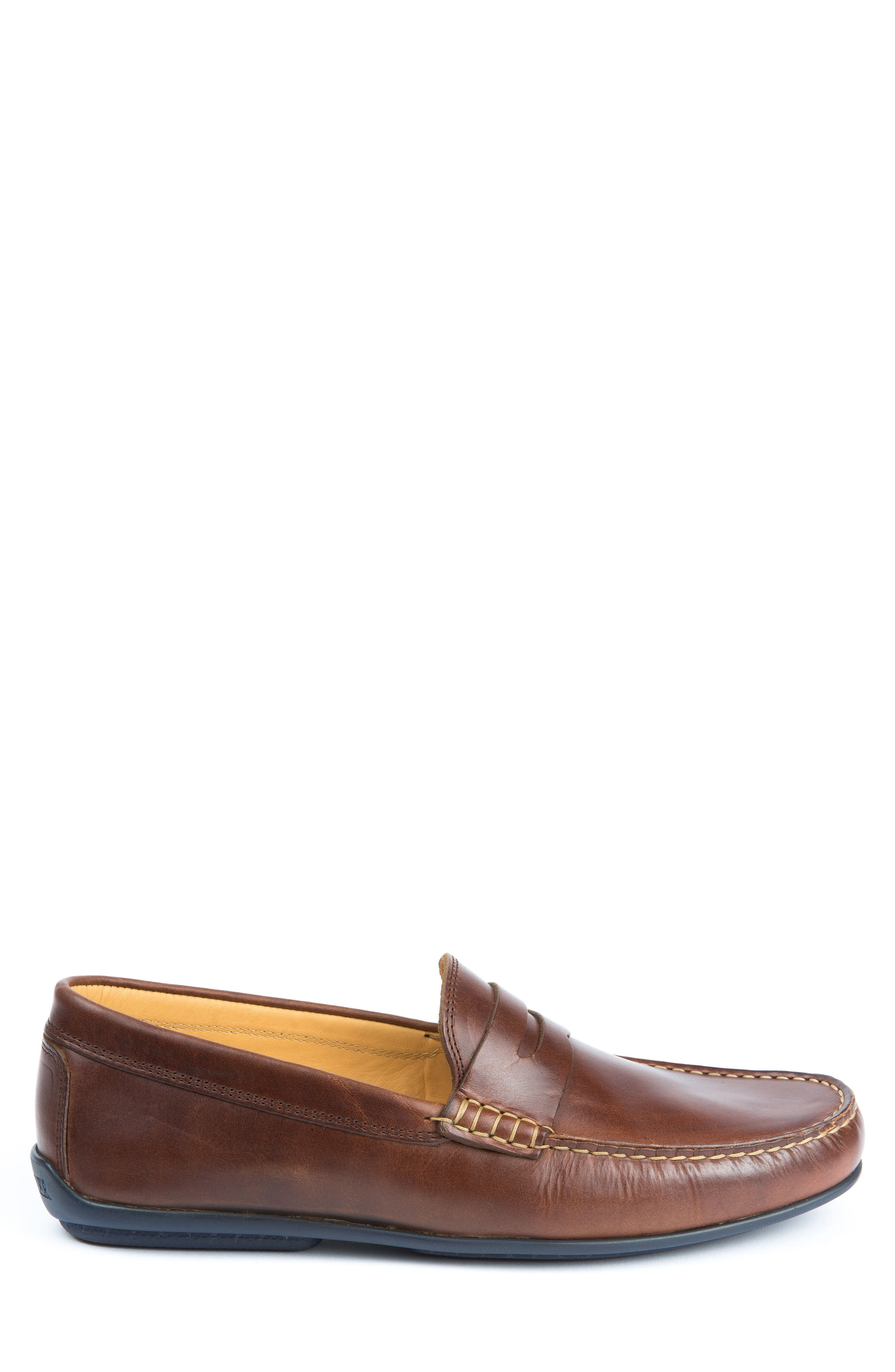 'Clinton' Leather Penny Loafer,                             Alternate thumbnail 3, color,                             LIGHT BROWN