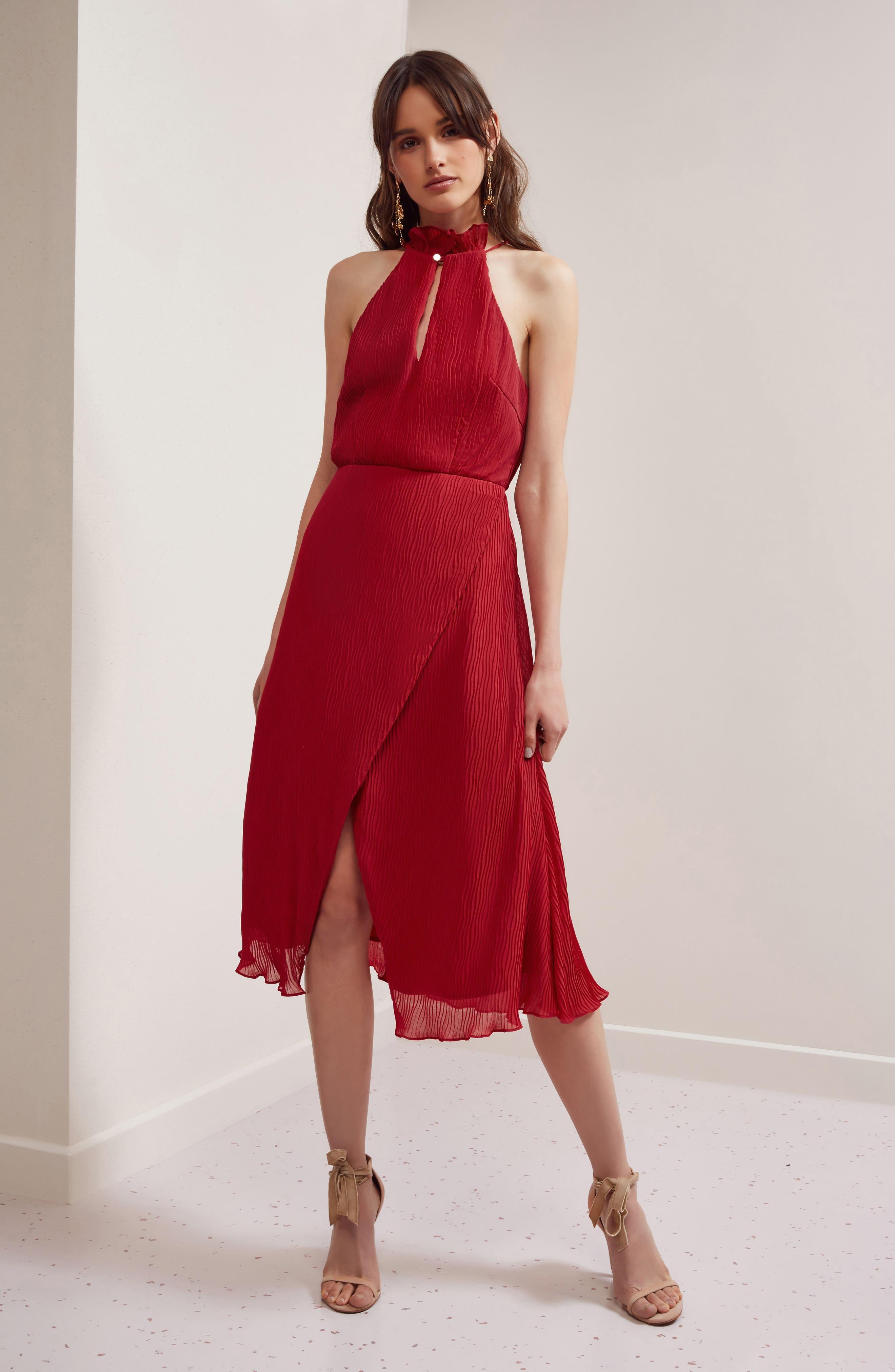 Skylines Halter Midi Dress,                             Alternate thumbnail 13, color,