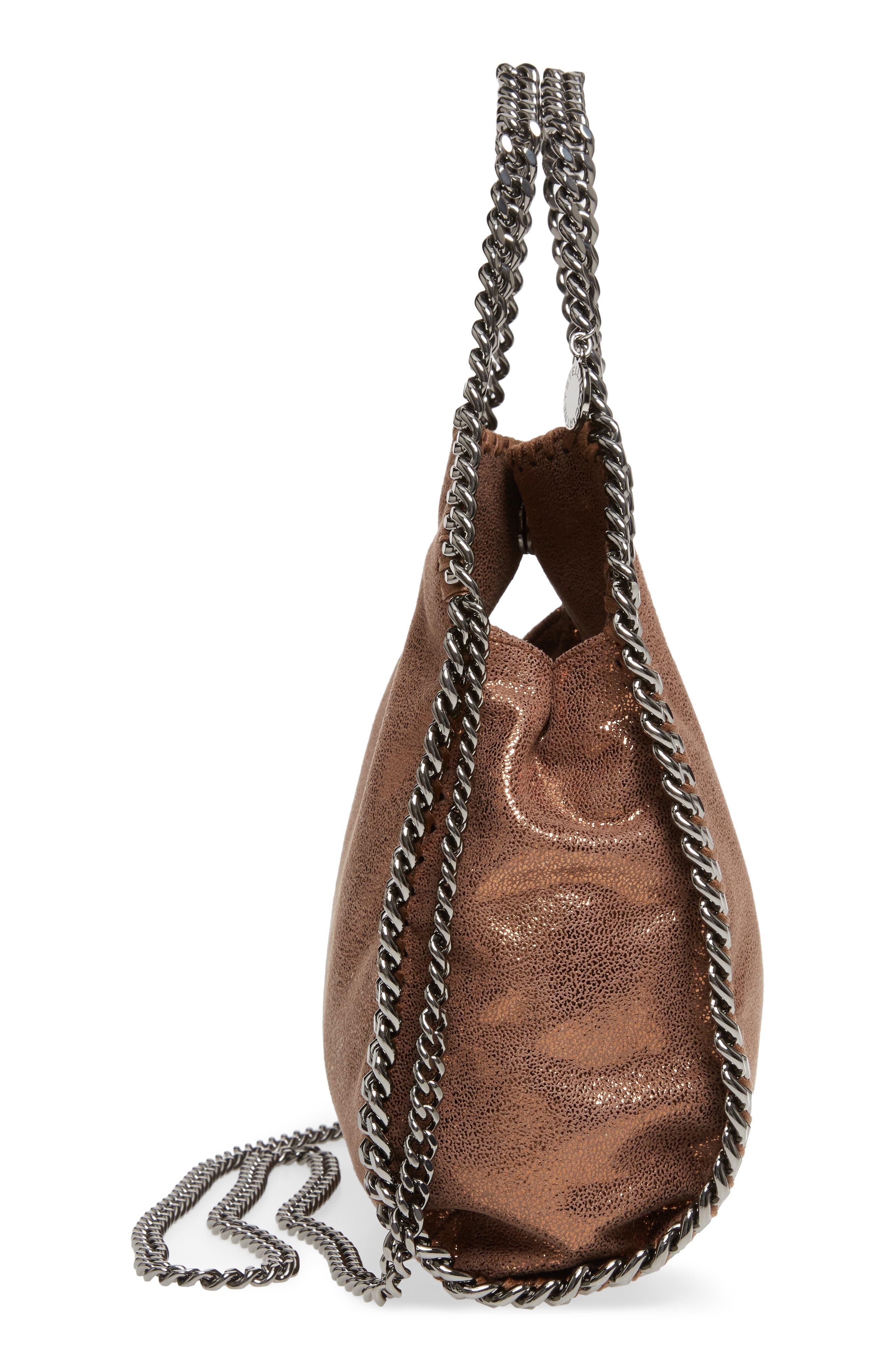Mini Falabella Shaggy Deer Metallic Faux Leather Tote,                             Alternate thumbnail 5, color,                             200