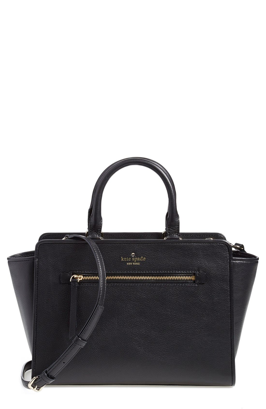 KATE SPADE NEW YORK,                             'north court - coralline' pebbled leather satchel,                             Main thumbnail 1, color,                             001