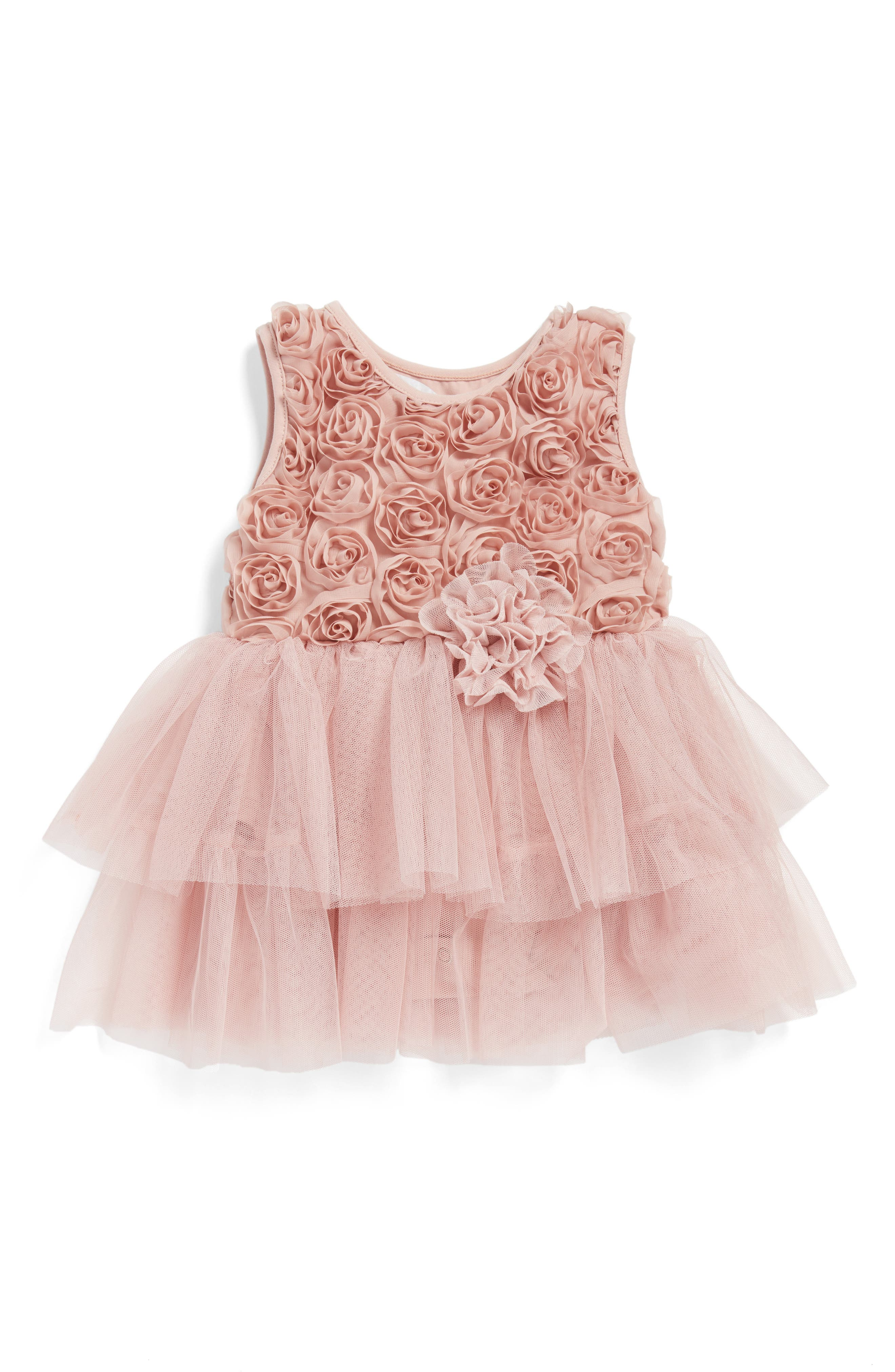 Rosette Tulle Dress,                             Alternate thumbnail 3, color,                             DUSTY PINK
