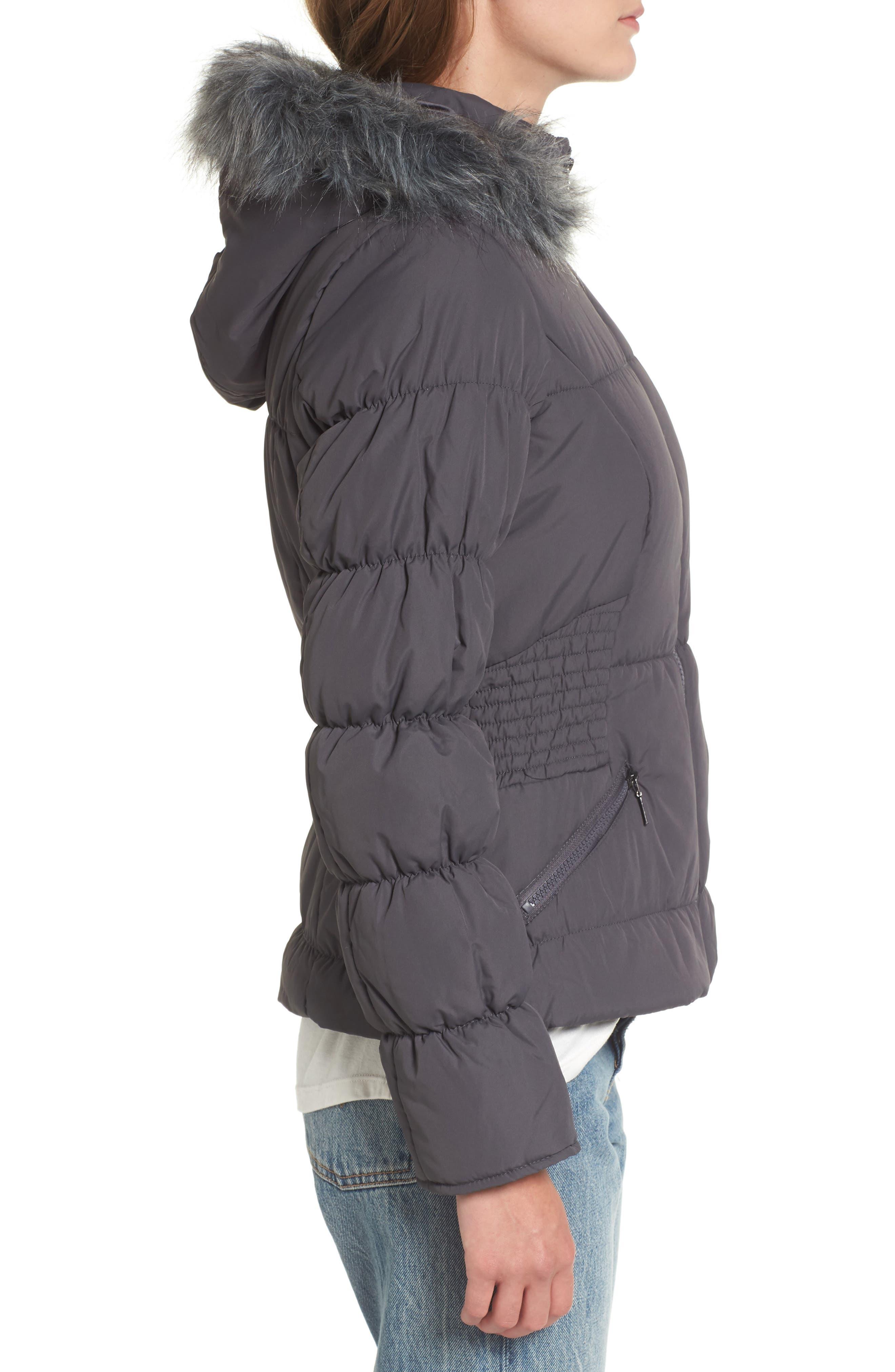 Faux Fur Trim Puffer Coat,                             Alternate thumbnail 3, color,                             036