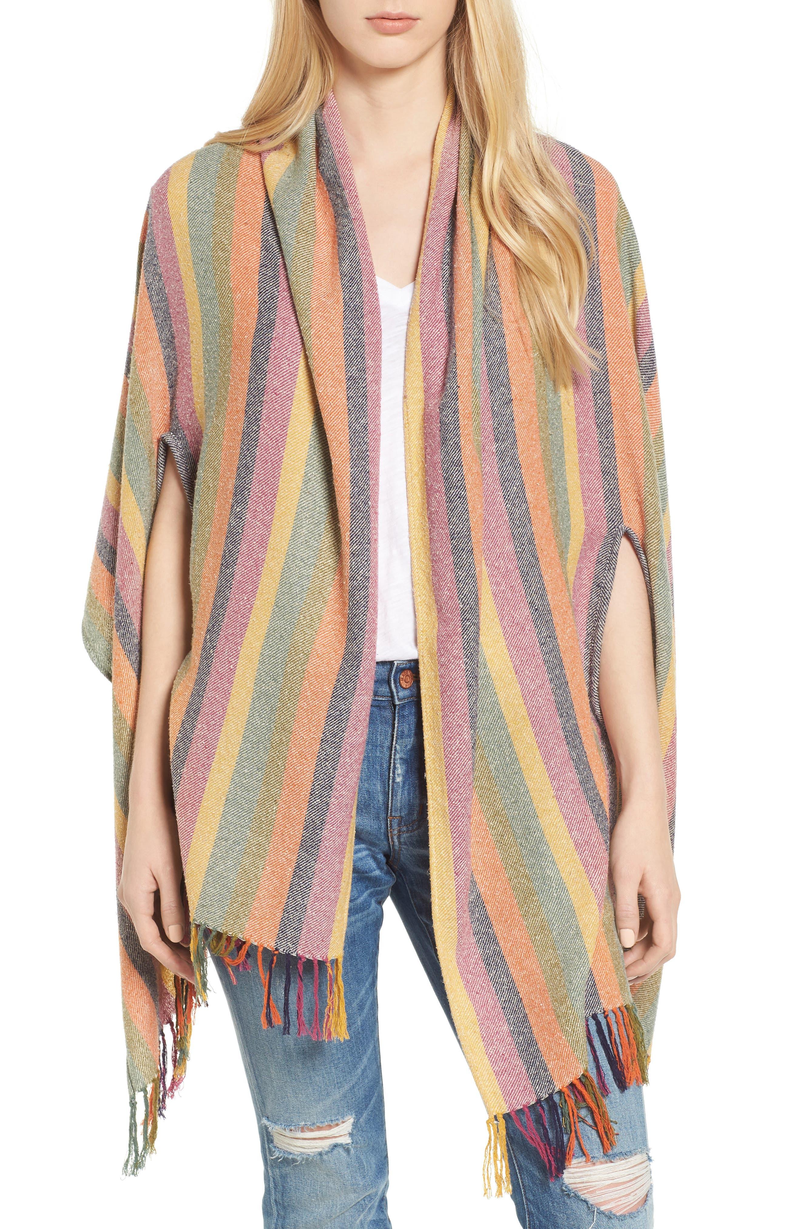 Rainbow Stripe Silk & Cotton Cape Scarf,                         Main,                         color, 650