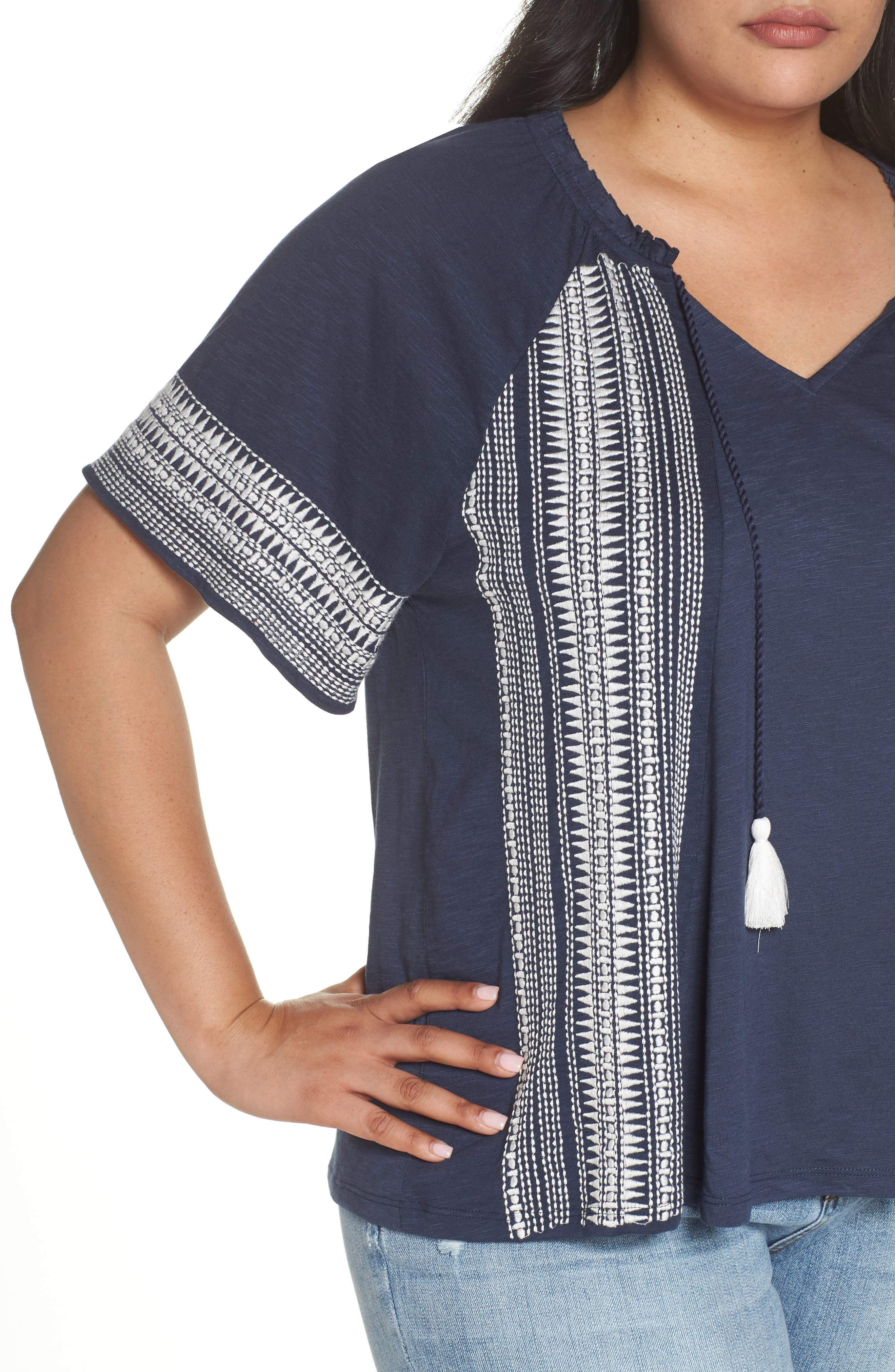 Embroidered Border Peasant Top,                             Alternate thumbnail 4, color,                             410
