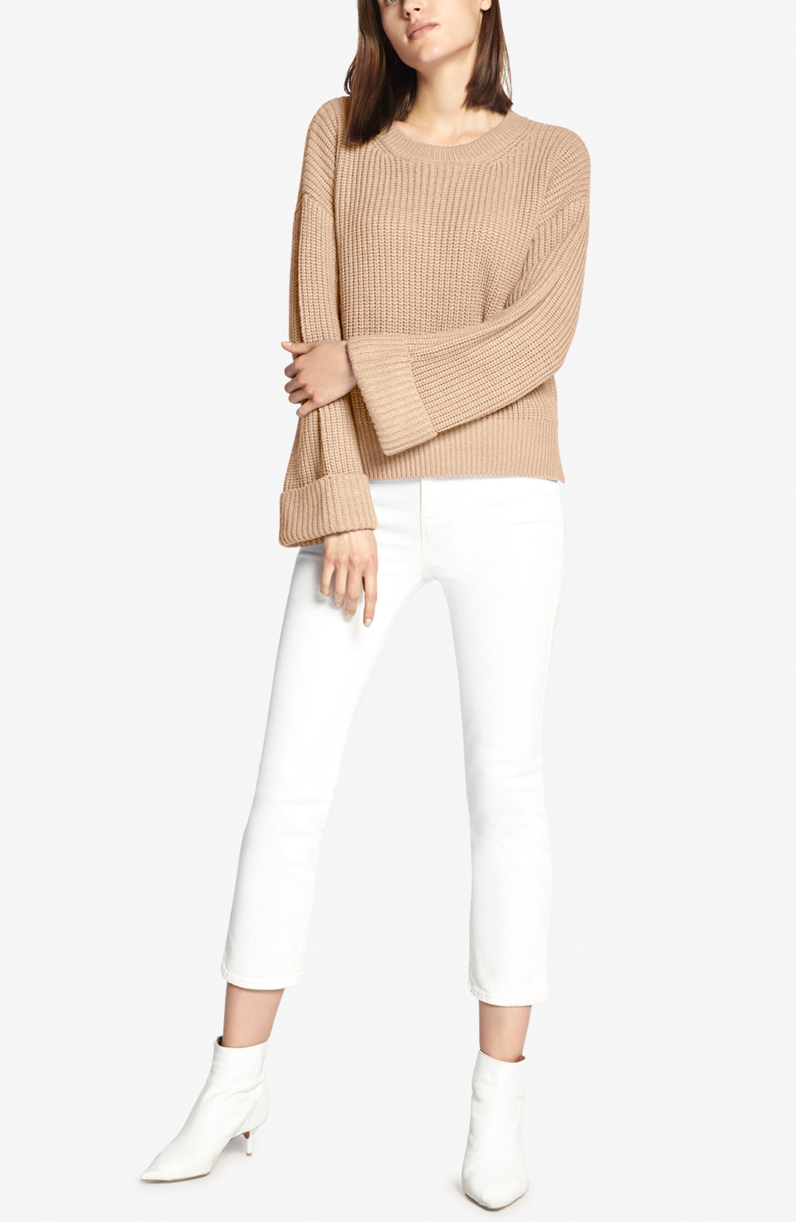Bell Sleeve Shaker Sweater,                             Alternate thumbnail 4, color,                             CHAMPAGNE
