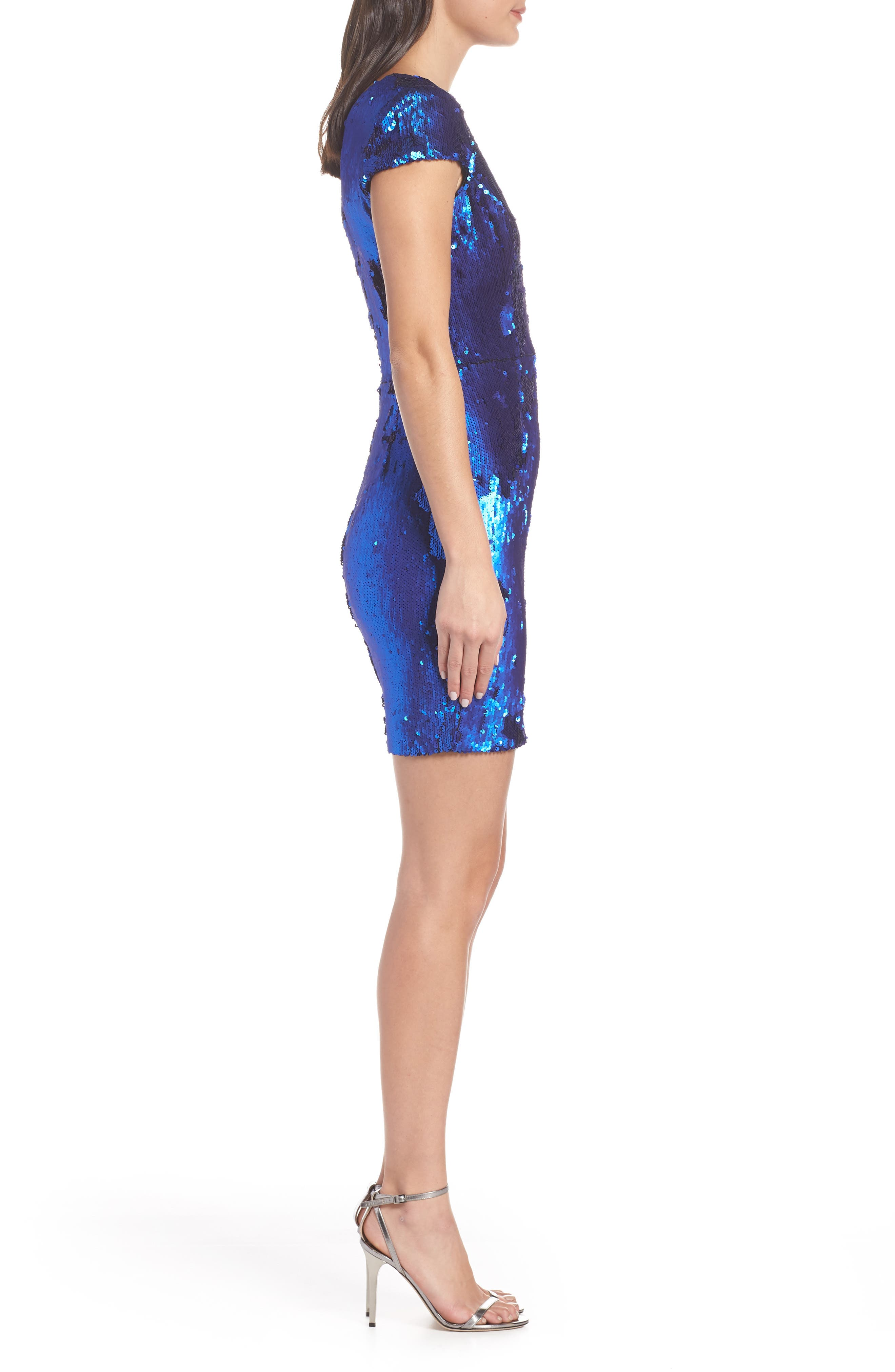 Zoe Sequin V-Neck Cocktail Sheath Dress,                             Alternate thumbnail 3, color,                             ELECTRIC BLUE