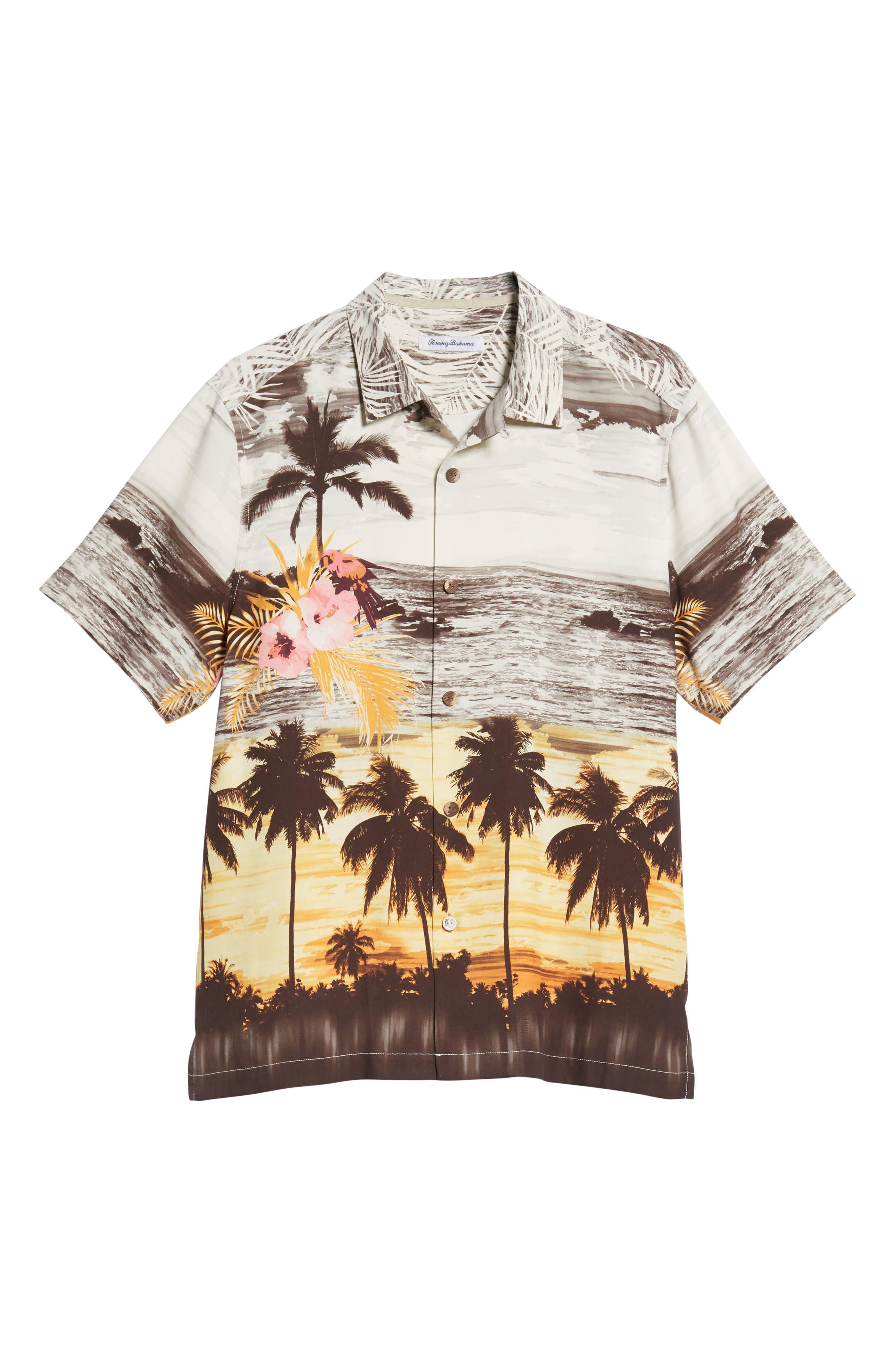 Sunset Serenade Silk Sport Shirt,                             Alternate thumbnail 6, color,                             SUNSET ORANGE