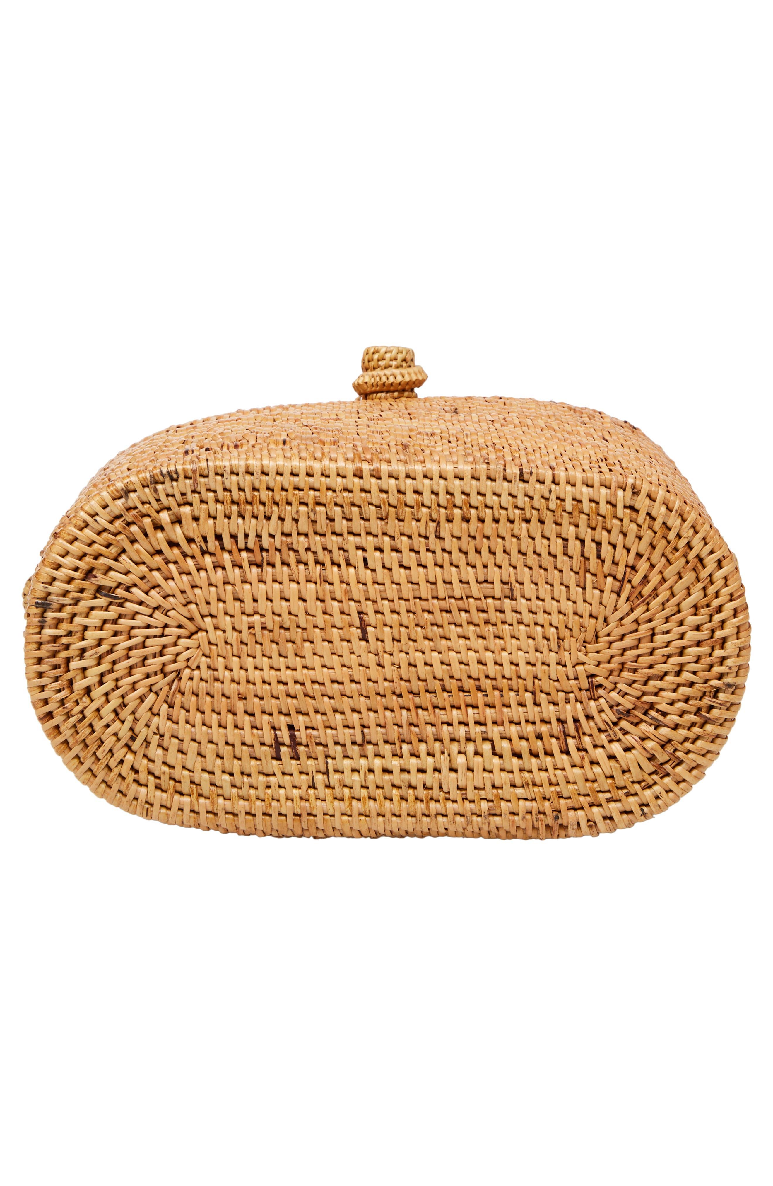 Woven Rattan Box Crossbody Bag,                             Alternate thumbnail 6, color,                             200