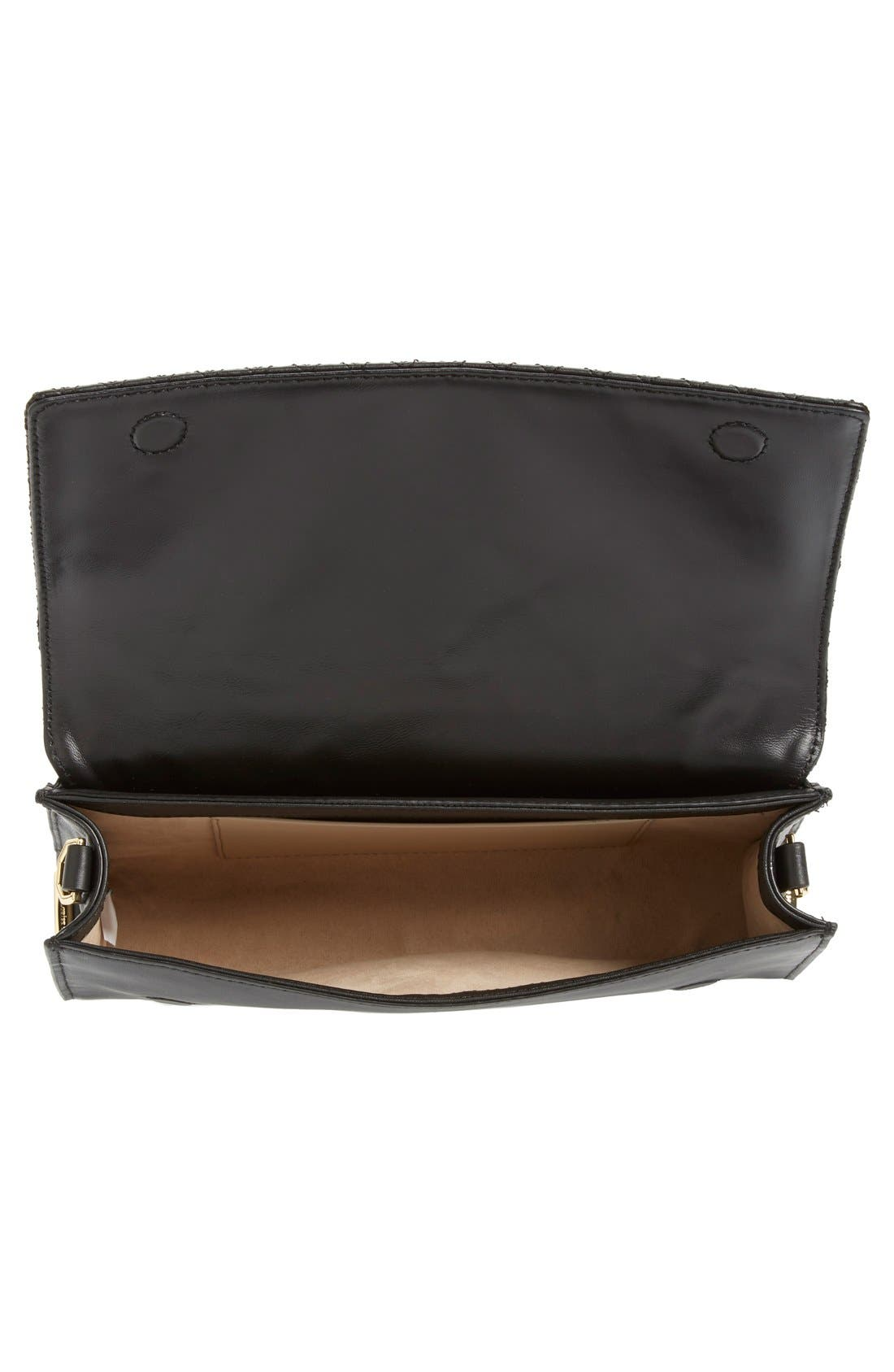 'Yvet' Leather Flap Clutch,                             Alternate thumbnail 8, color,