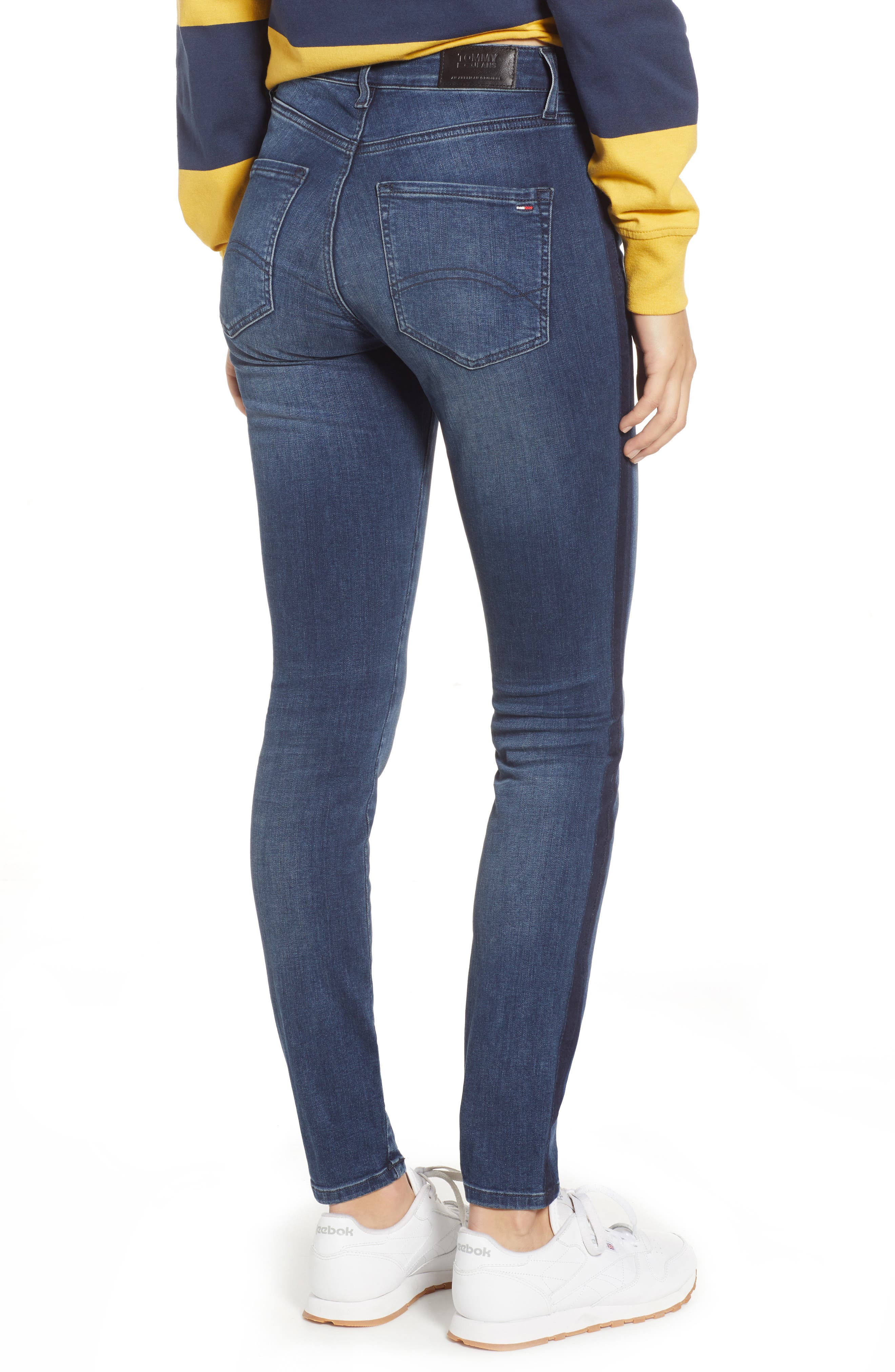 Santana High Waist Skinny Jeans,                             Alternate thumbnail 2, color,                             NEDDLE DARK BLUE STRETCH