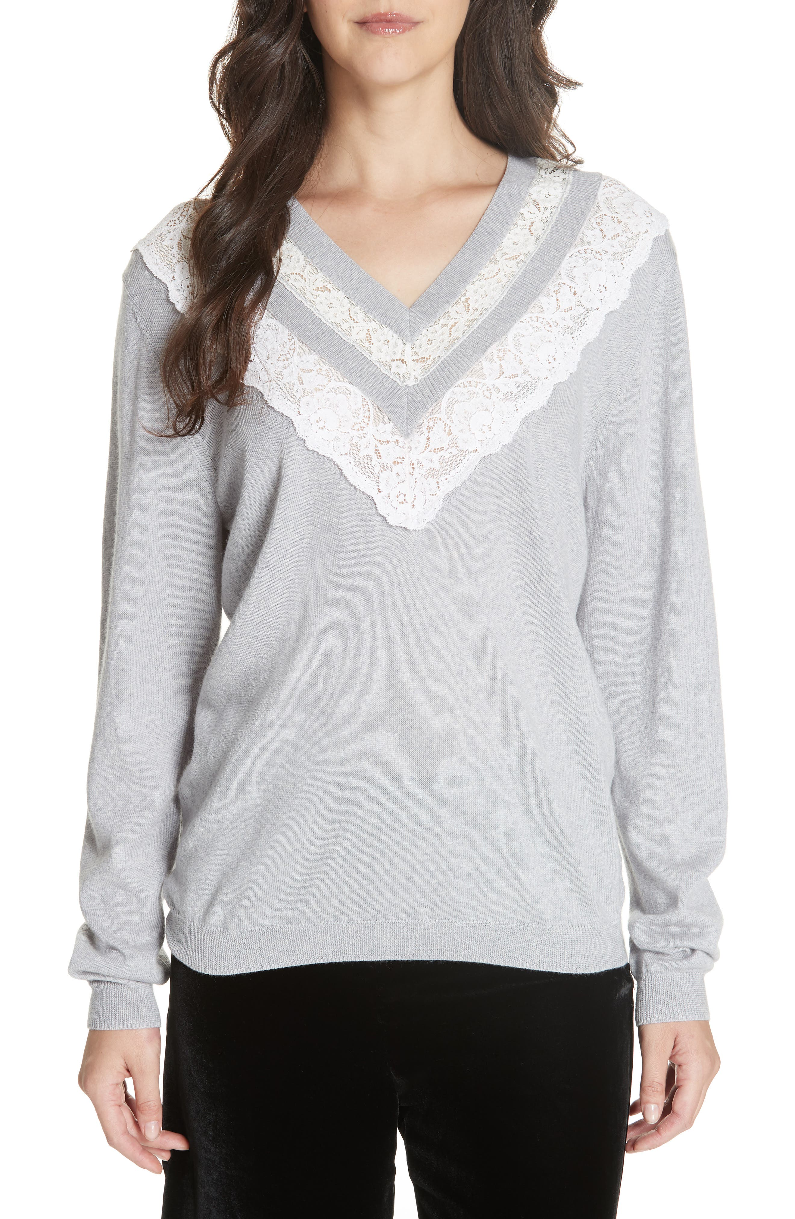 Lace Trim Merino Wool Sweater,                         Main,                         color, GREY