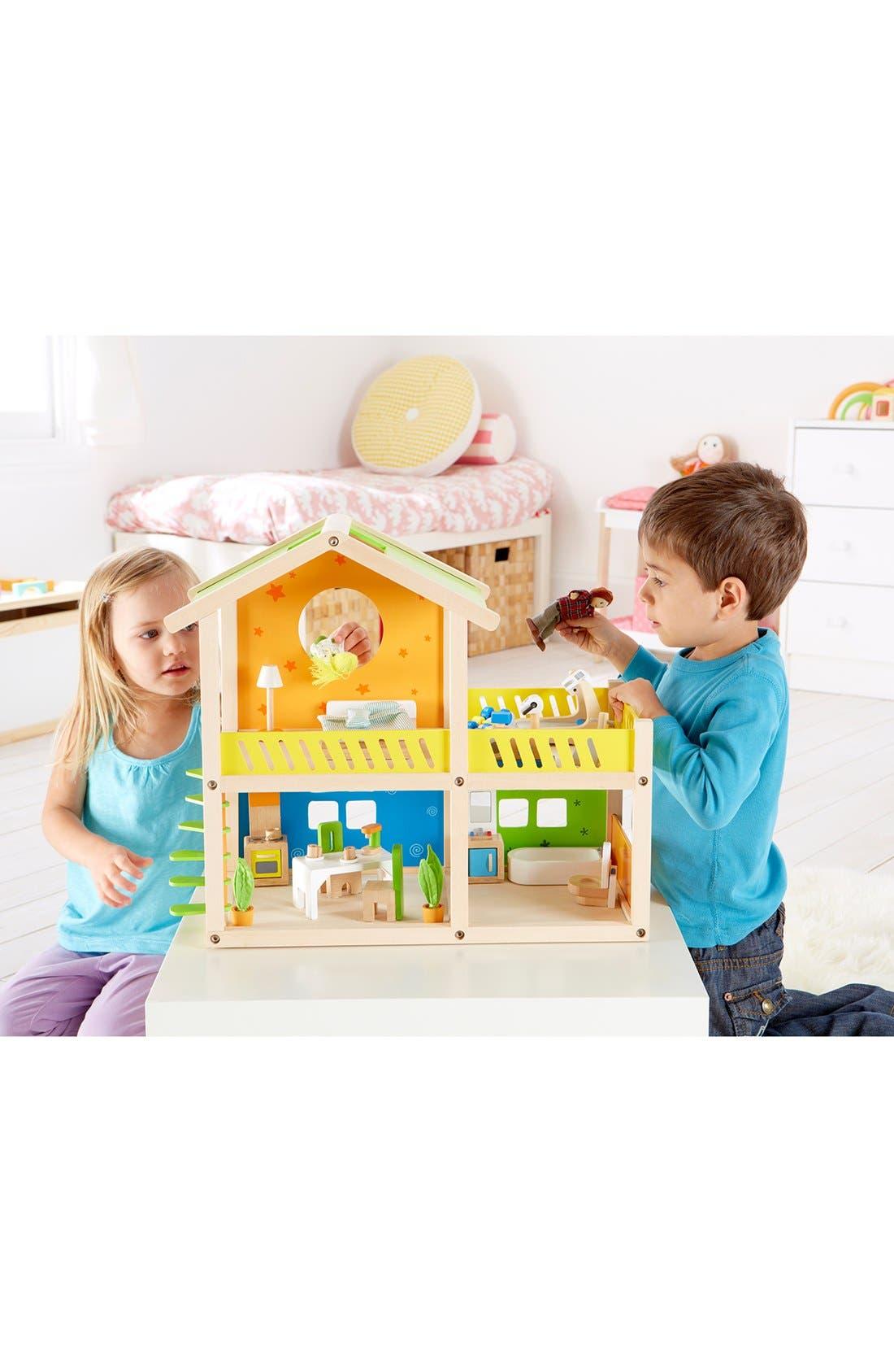 'Happy Villa' Wooden Dollhouse,                             Alternate thumbnail 3, color,                             000