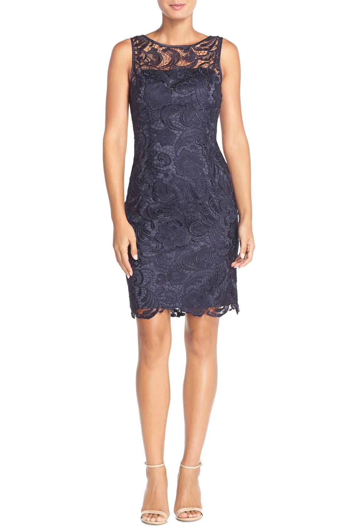 Illusion Bodice Lace Sheath Dress,                             Alternate thumbnail 42, color,