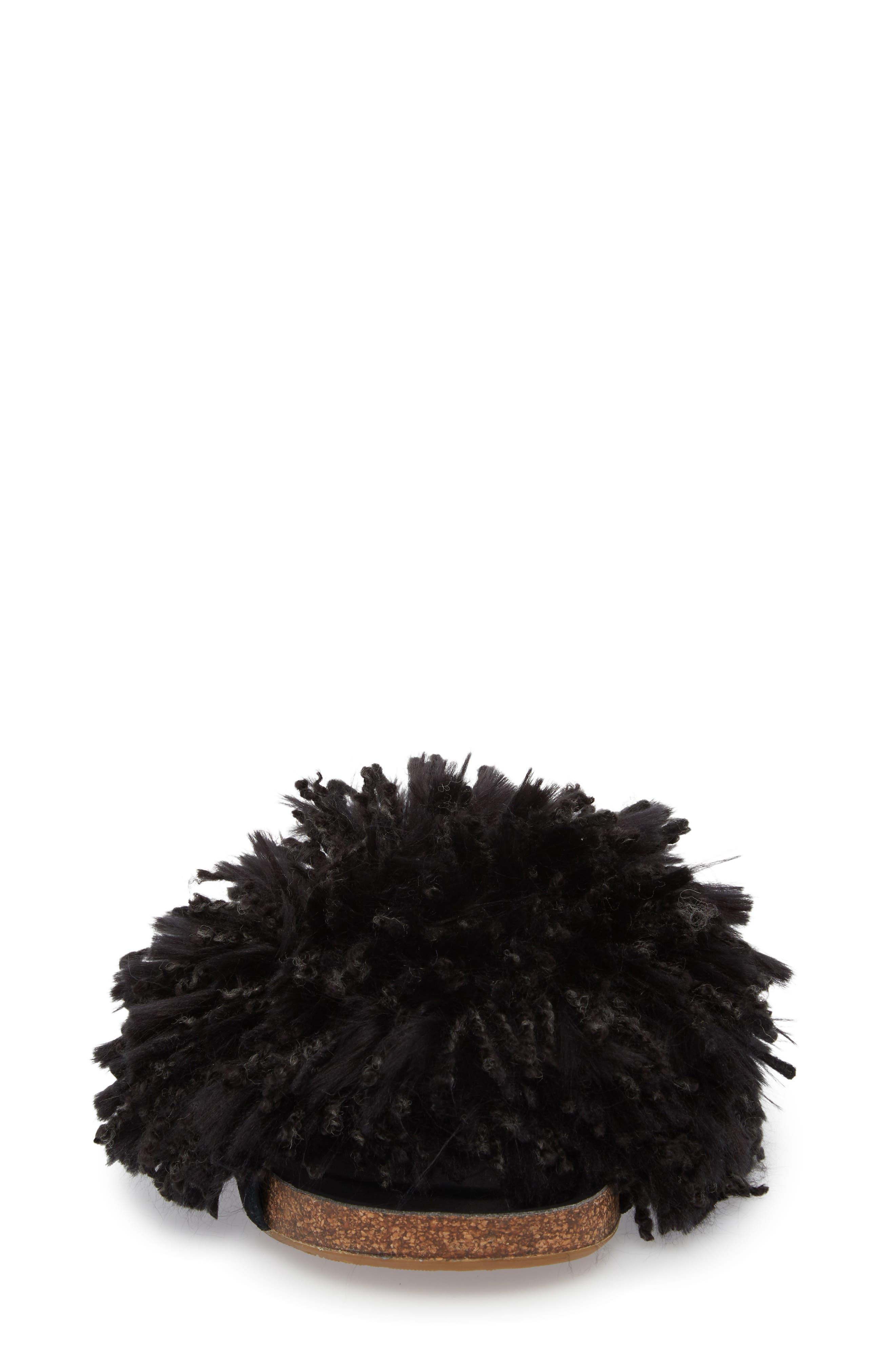 Cindi Yarn Pom Sandal,                             Alternate thumbnail 4, color,                             BLACK