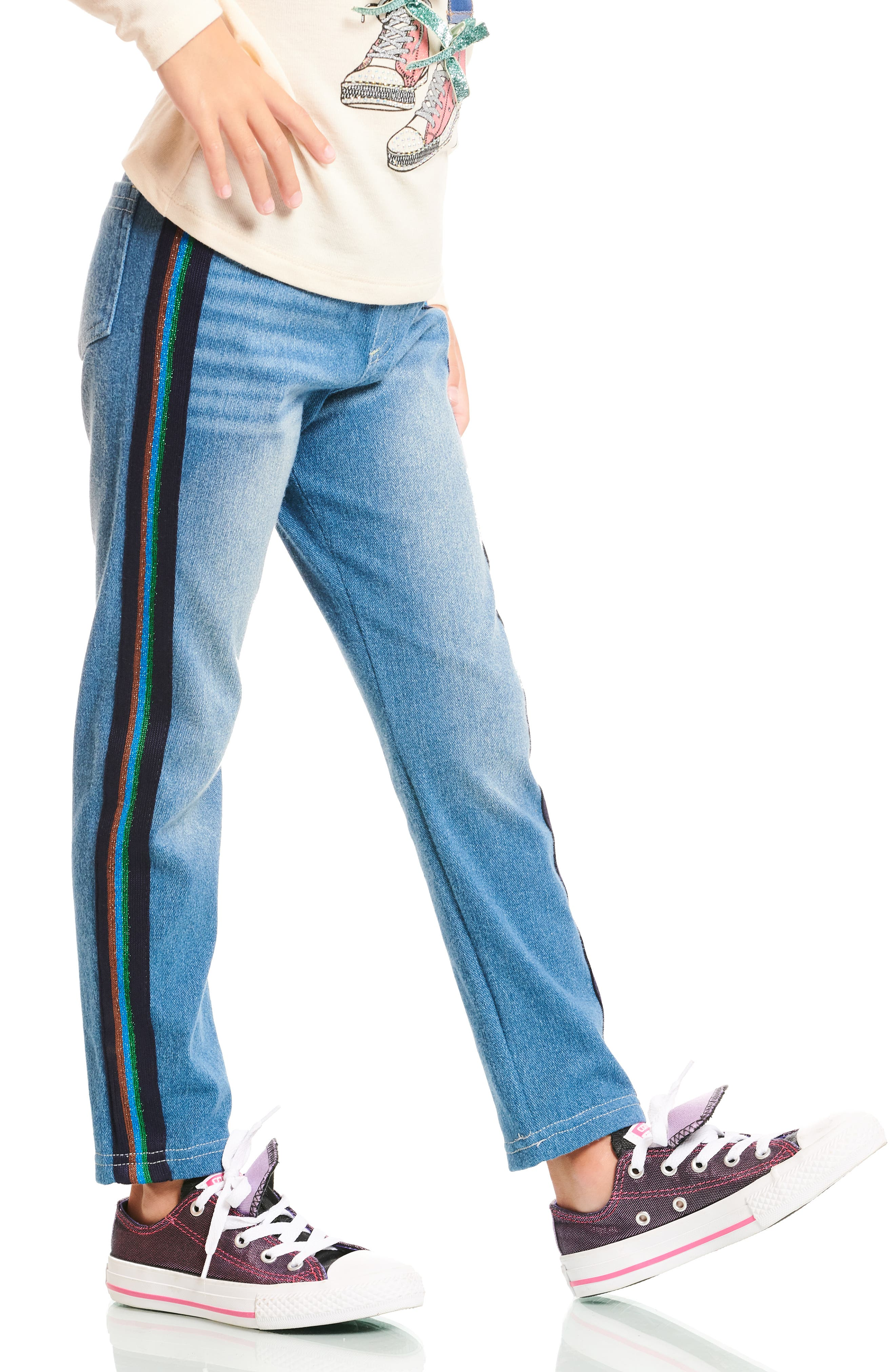 Side Stripe Denim Leggings,                             Alternate thumbnail 4, color,                             BLUE