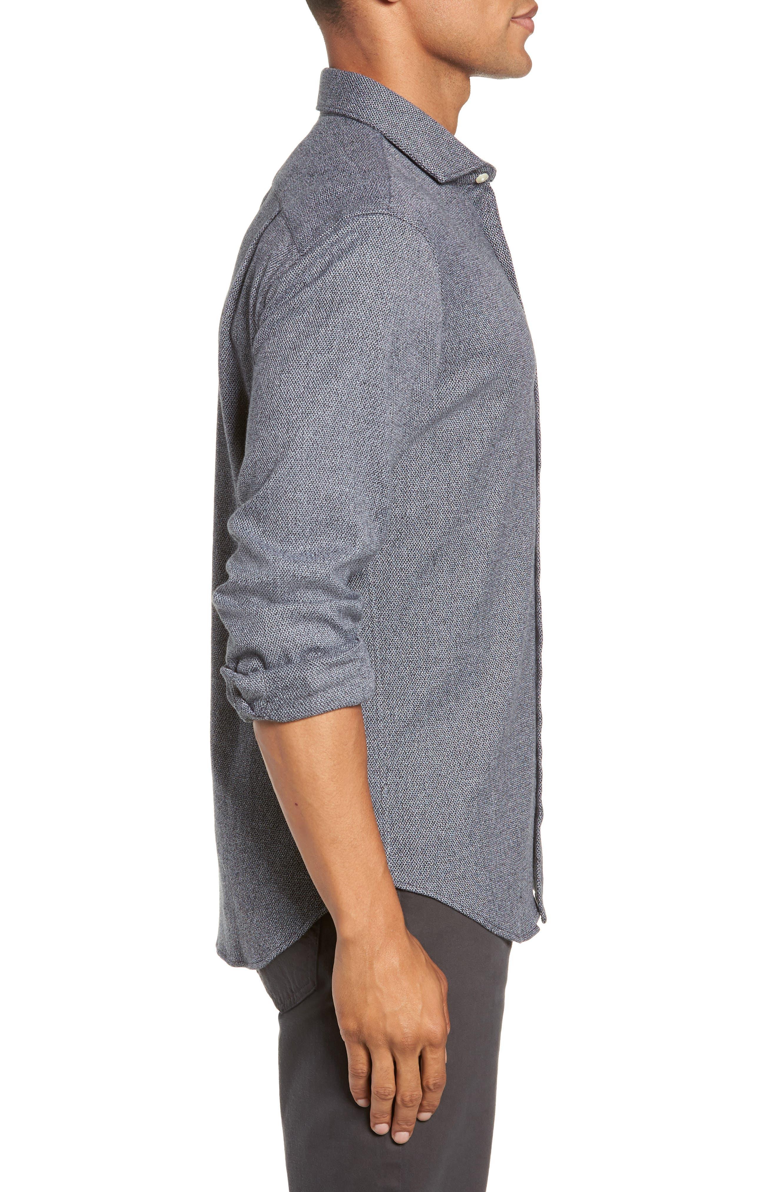 Unbutton Slim Fit Sport Shirt,                             Alternate thumbnail 4, color,                             JASPE TEXTURE - STERLING