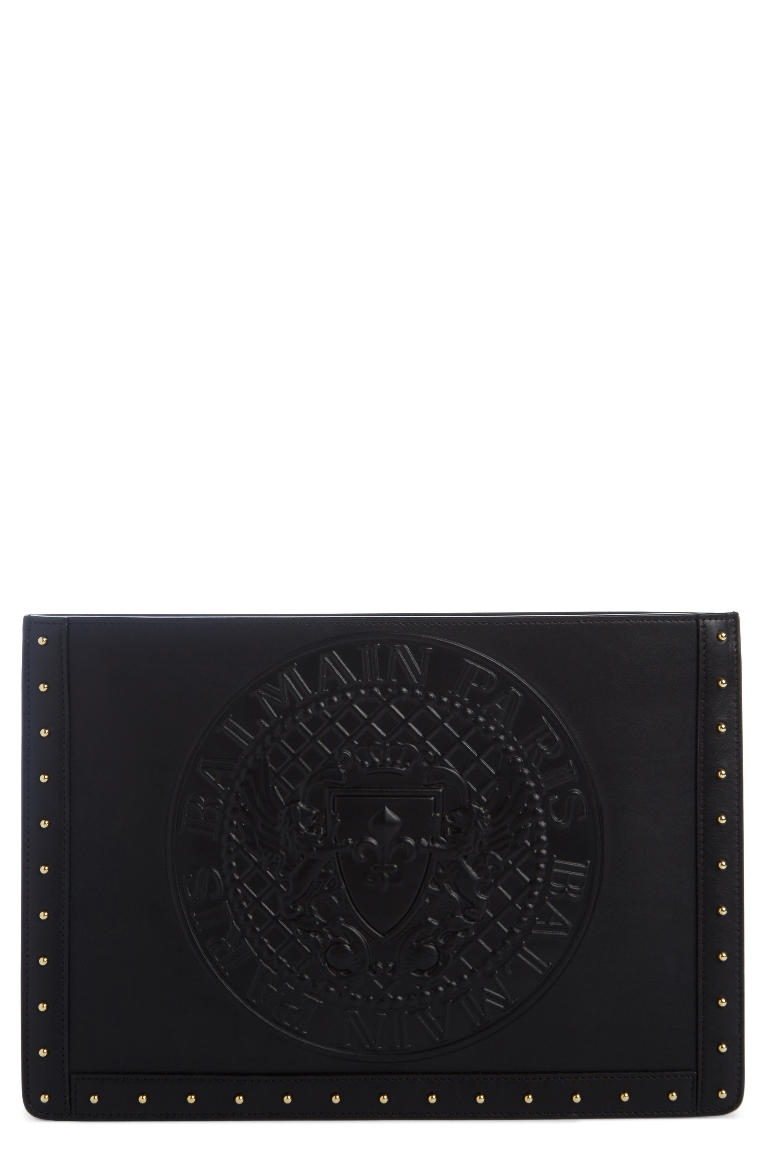 Mini Domaine Embossed Coin Calfskin Bag,                             Main thumbnail 1, color,                             NOIR
