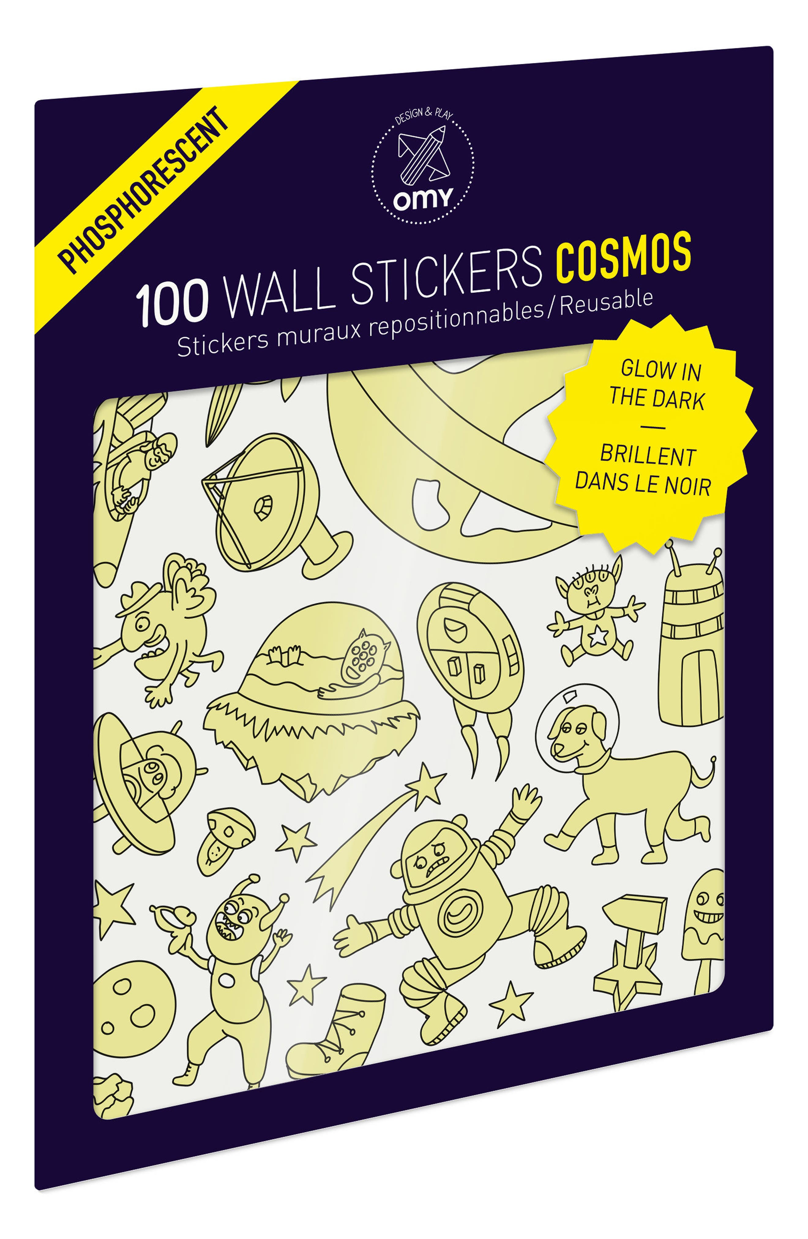Set of 100 Cosmos Glow in the Dark Wall Stickers,                             Main thumbnail 1, color,                             100