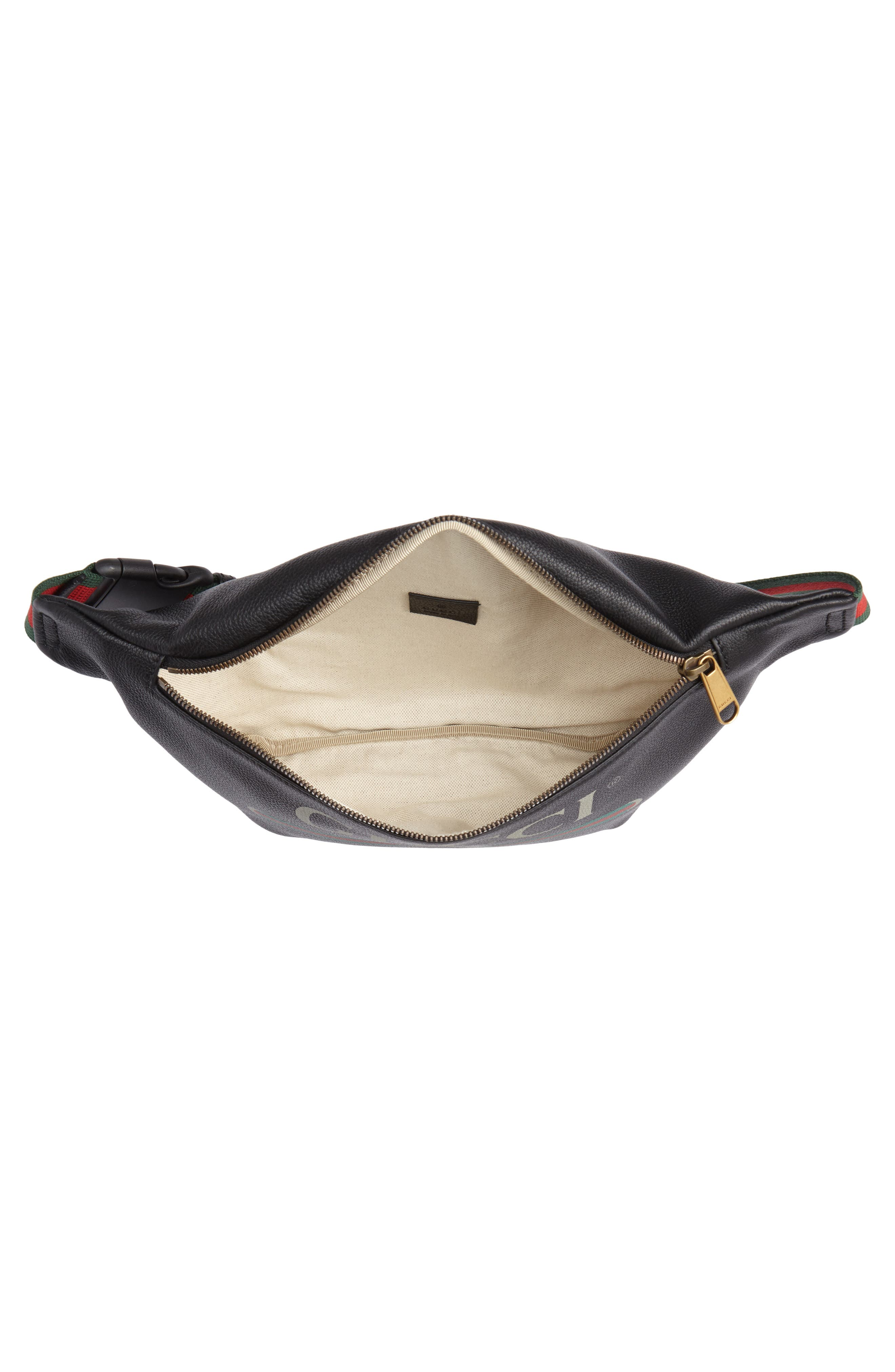 Logo Leather Waist Pack,                             Alternate thumbnail 4, color,                             BLACK