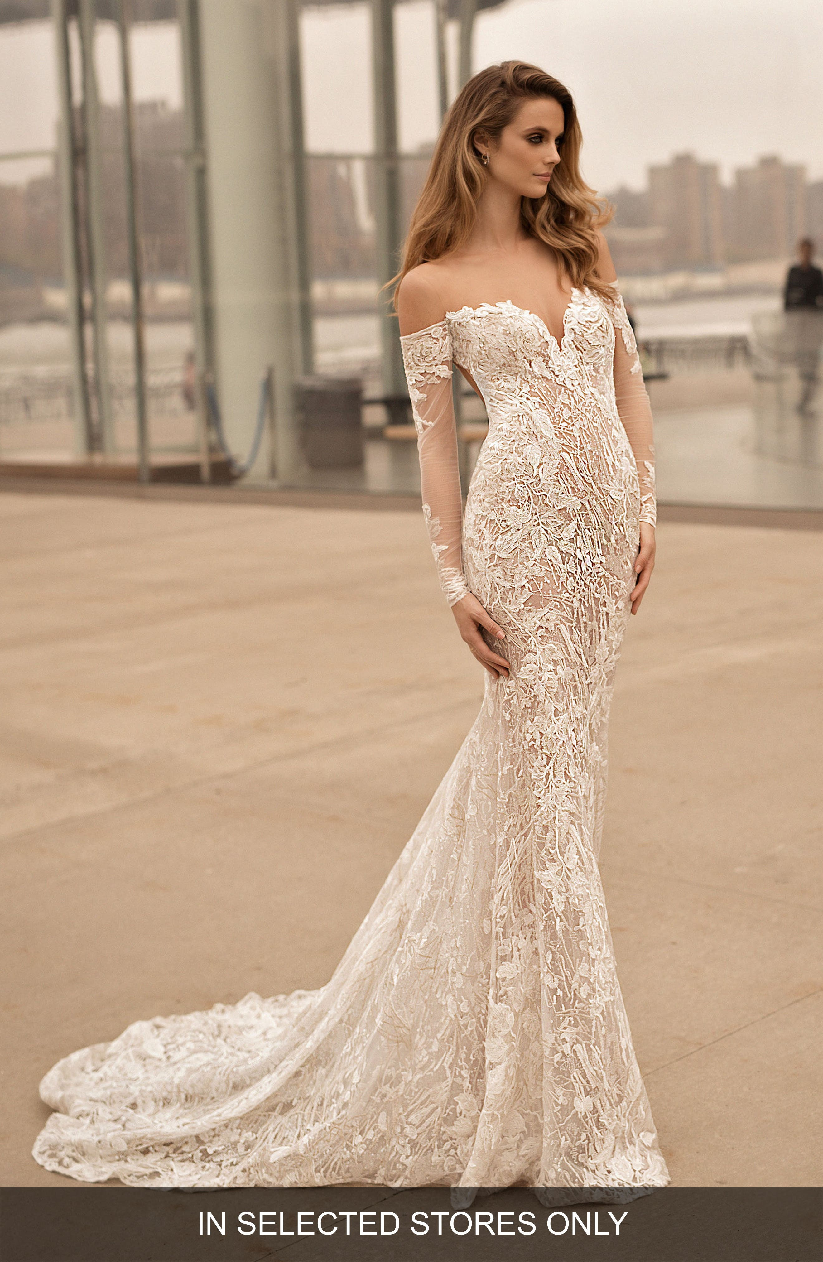 Long Sleeve Illusion Off the Shoulder Mermaid Gown,                             Main thumbnail 1, color,                             IVORY