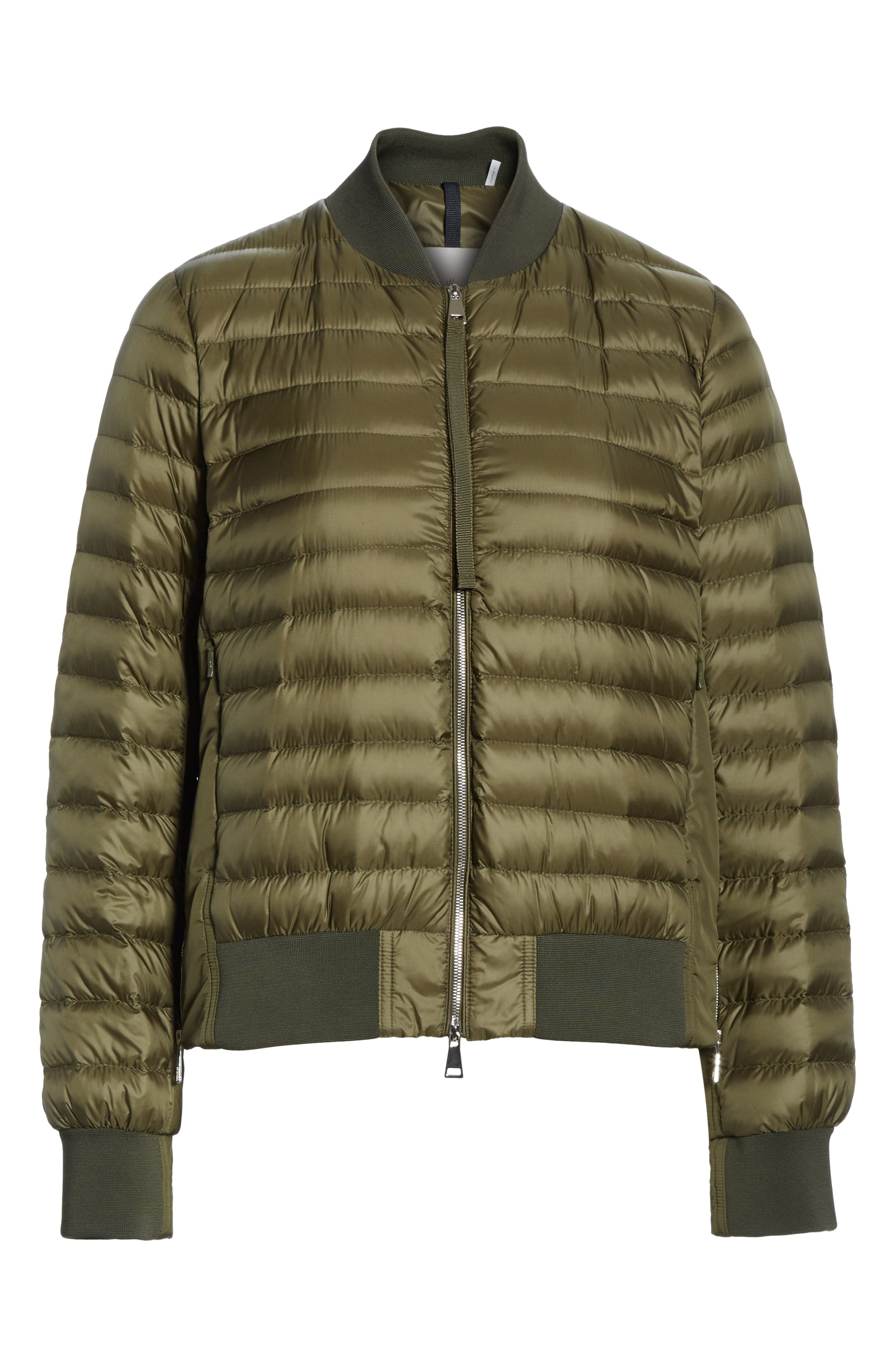 MONCLER,                             Rome Quilted Down Jacket,                             Alternate thumbnail 6, color,                             DARK GREEN