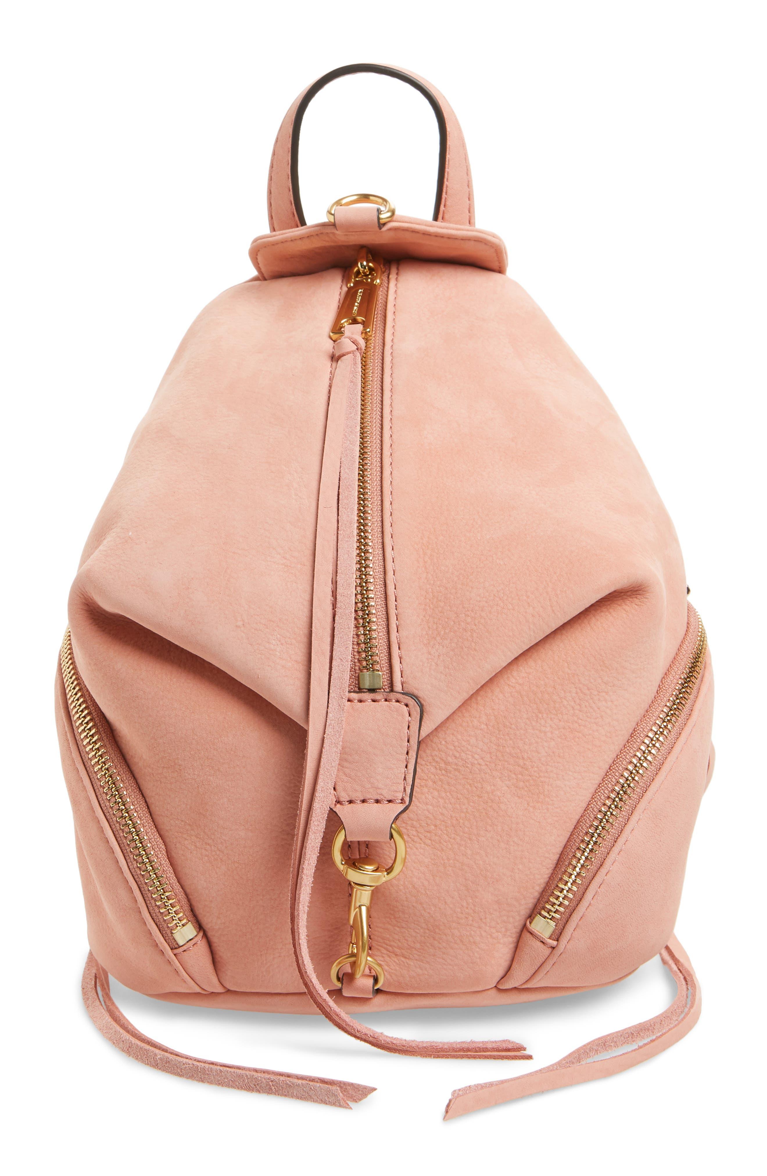 Mini Julian Nubuck Leather Convertible Backpack,                         Main,                         color, DUSTY PEACH