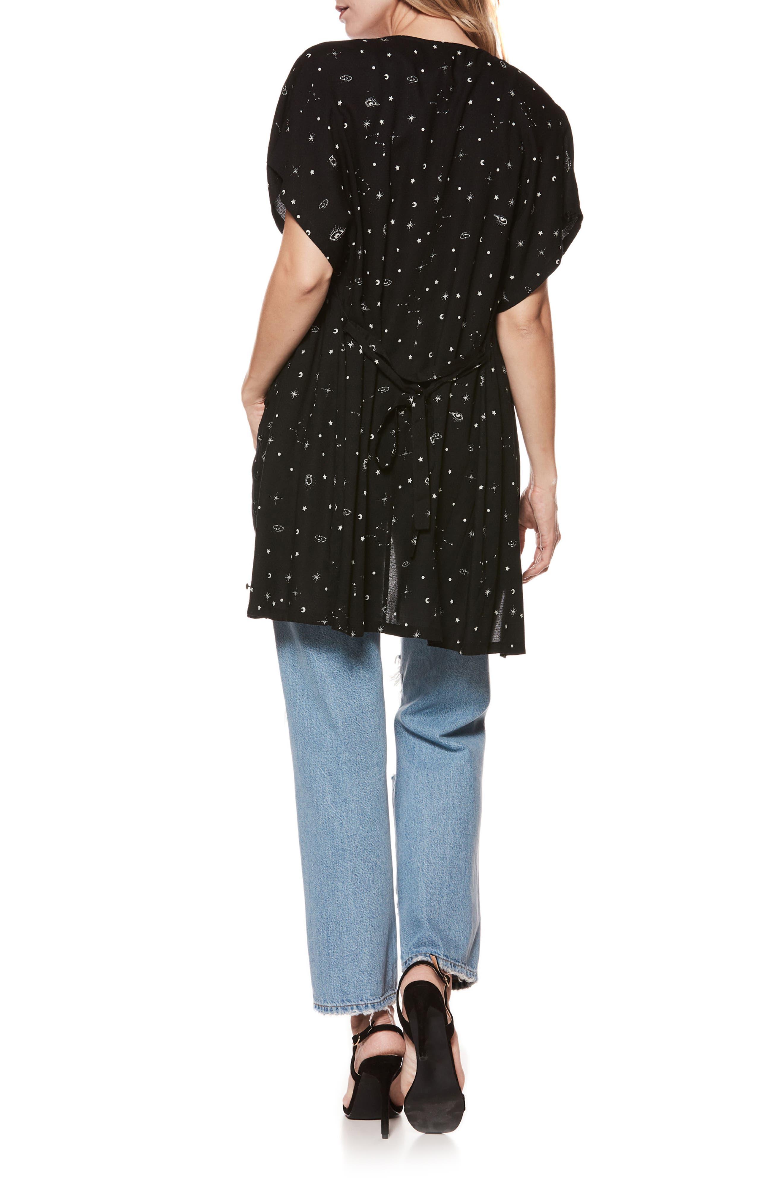 Cherelle Print Minidress,                             Alternate thumbnail 4, color,                             BLACK/ SANDY SHELL