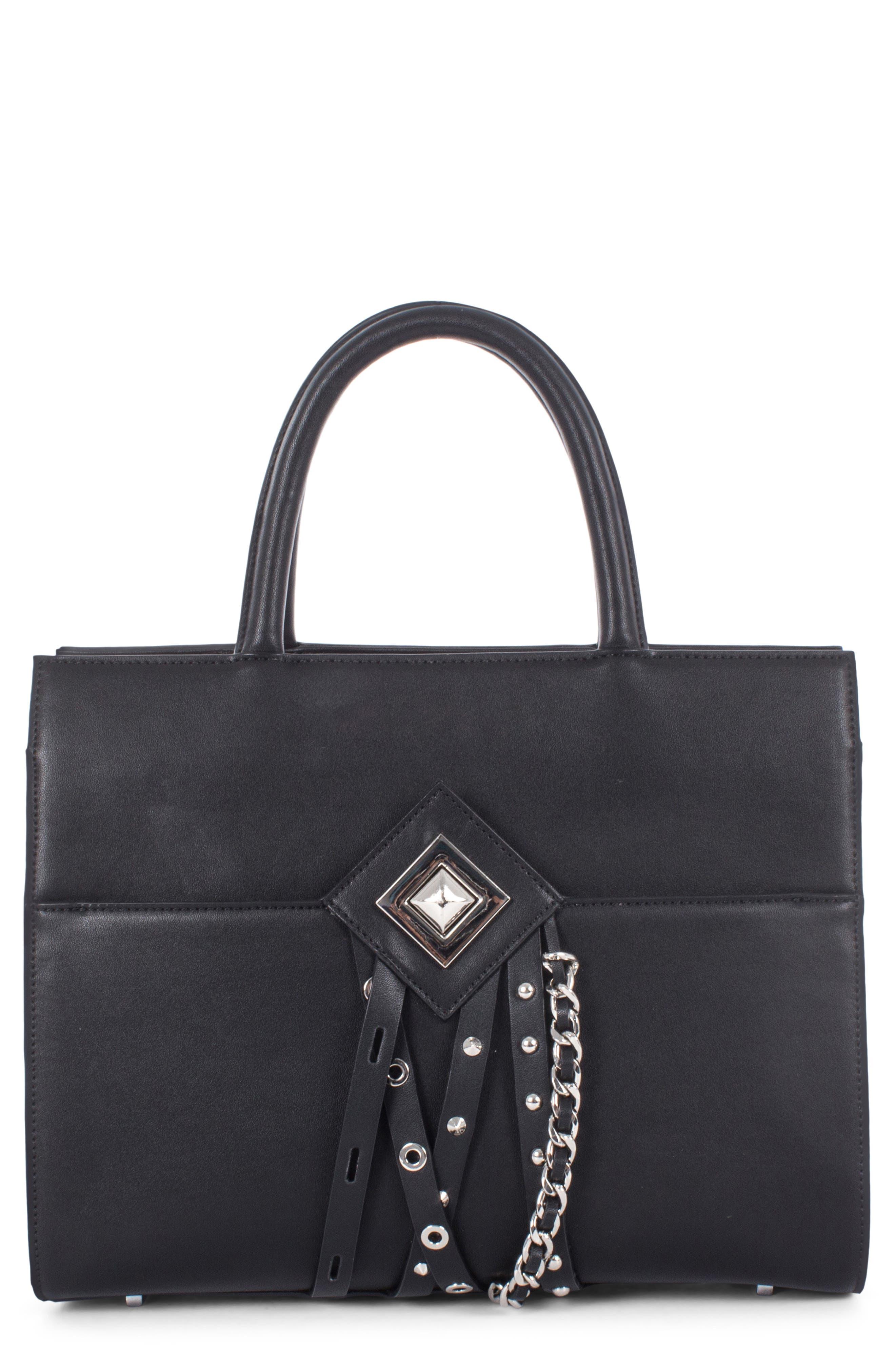 Céline Dion Legato Faux Leather Satchel,                         Main,                         color, BLACK