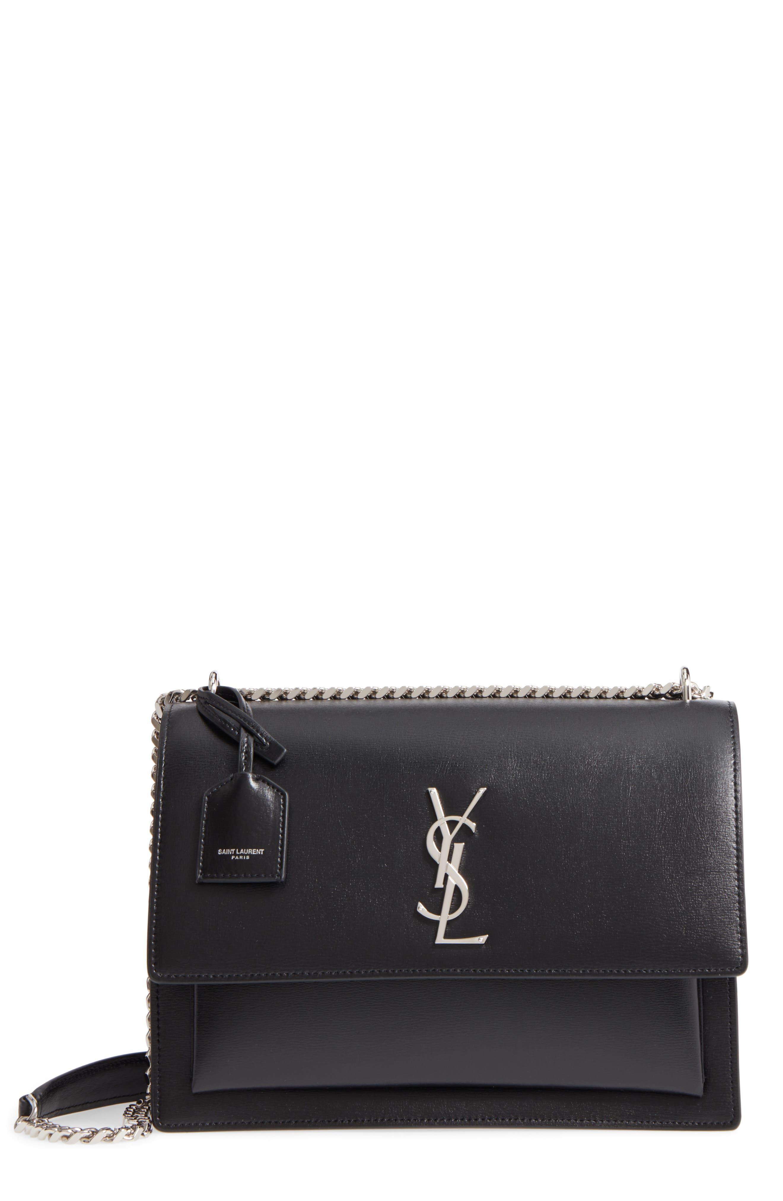 Medium Sunset Leather Shoulder Bag,                             Main thumbnail 1, color,                             NOIR
