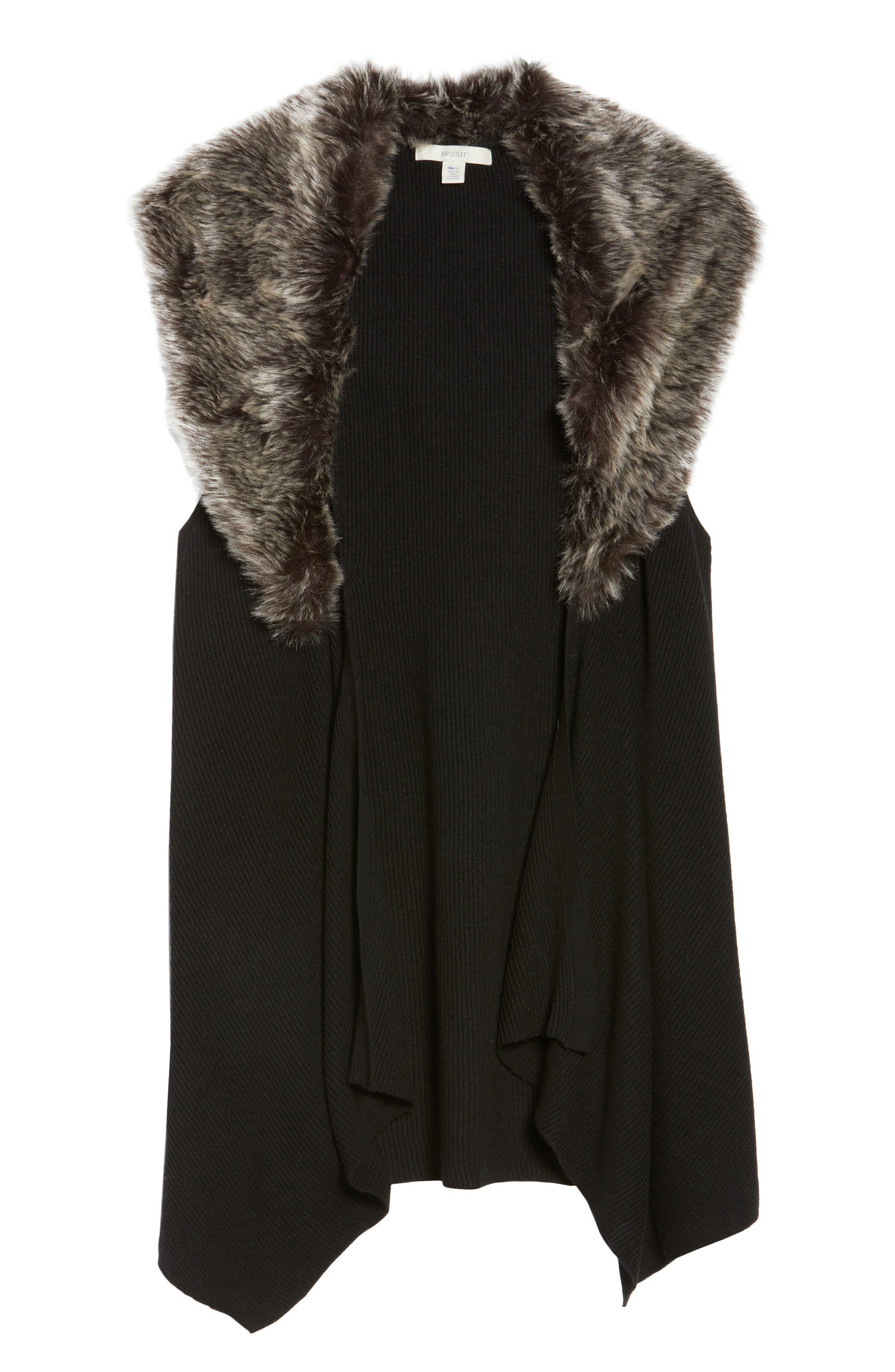 Detachable Faux Fur Trim Vest,                             Alternate thumbnail 6, color,                             001