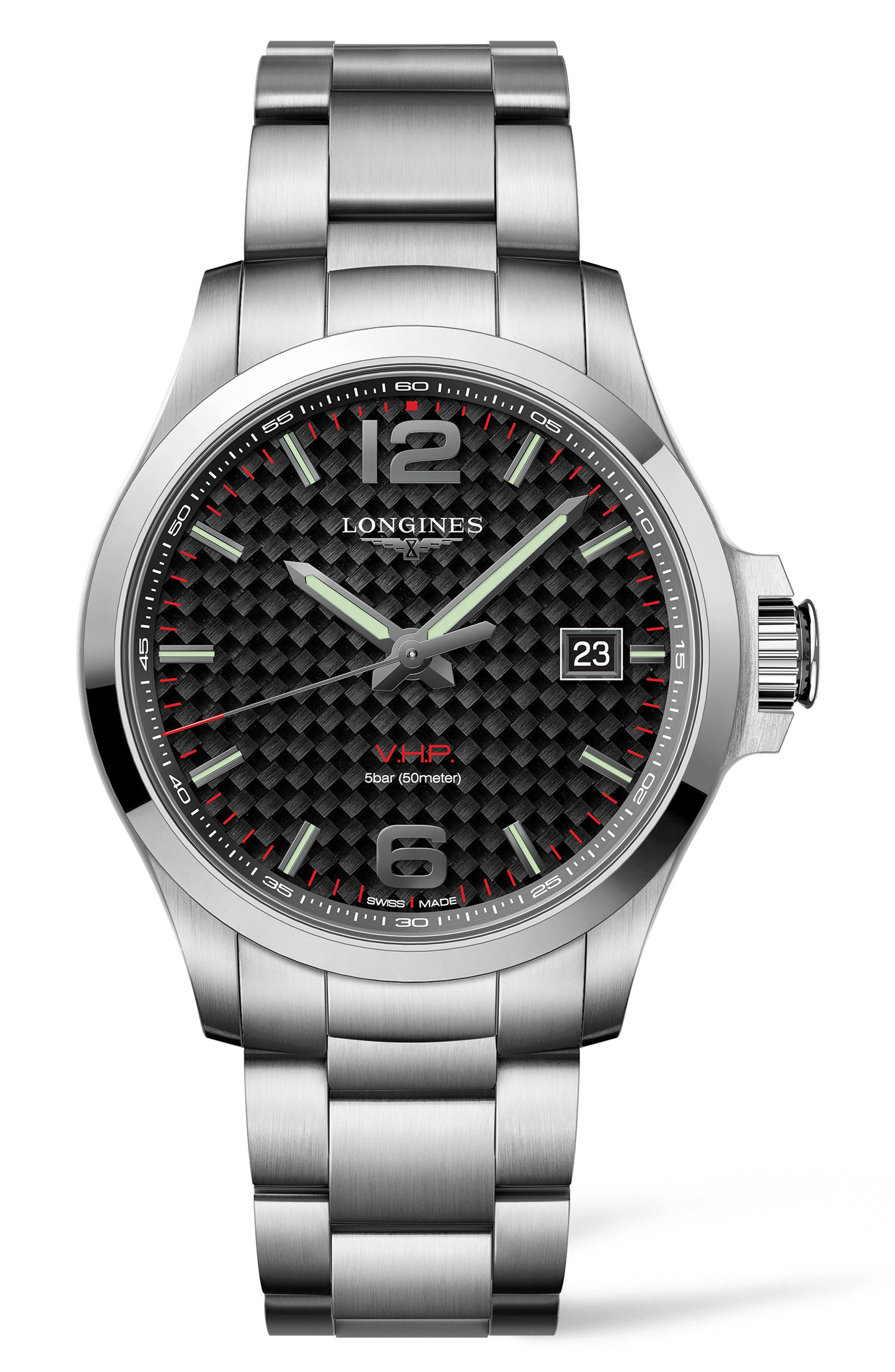 Conquest VHP Bracelet Watch, 43mm,                             Main thumbnail 1, color,                             SILVER/ CARBON FIBER/ SILVER