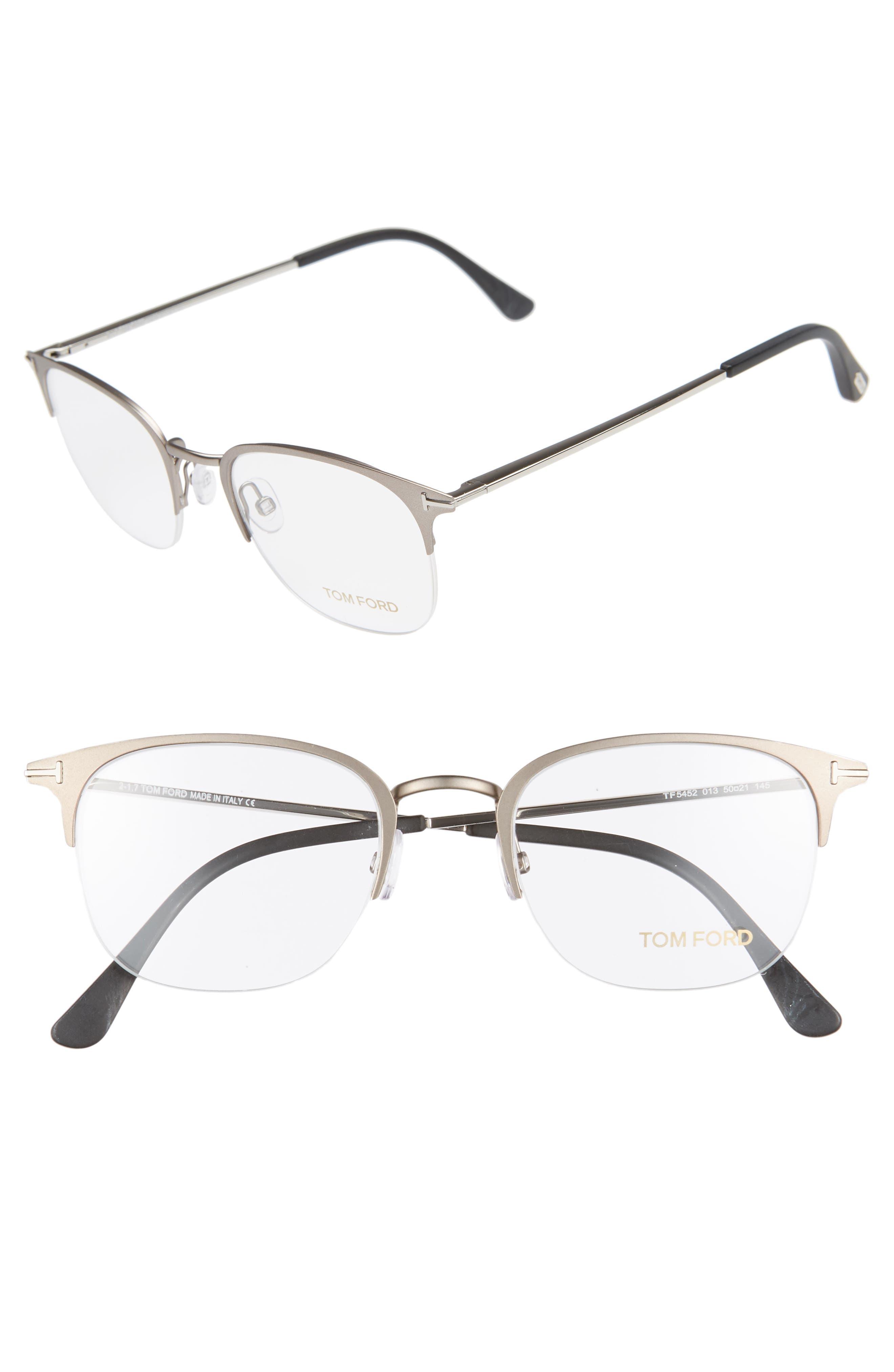 50mm Optical Glasses,                             Main thumbnail 1, color,                             MATTE DARK RUTHENIUM