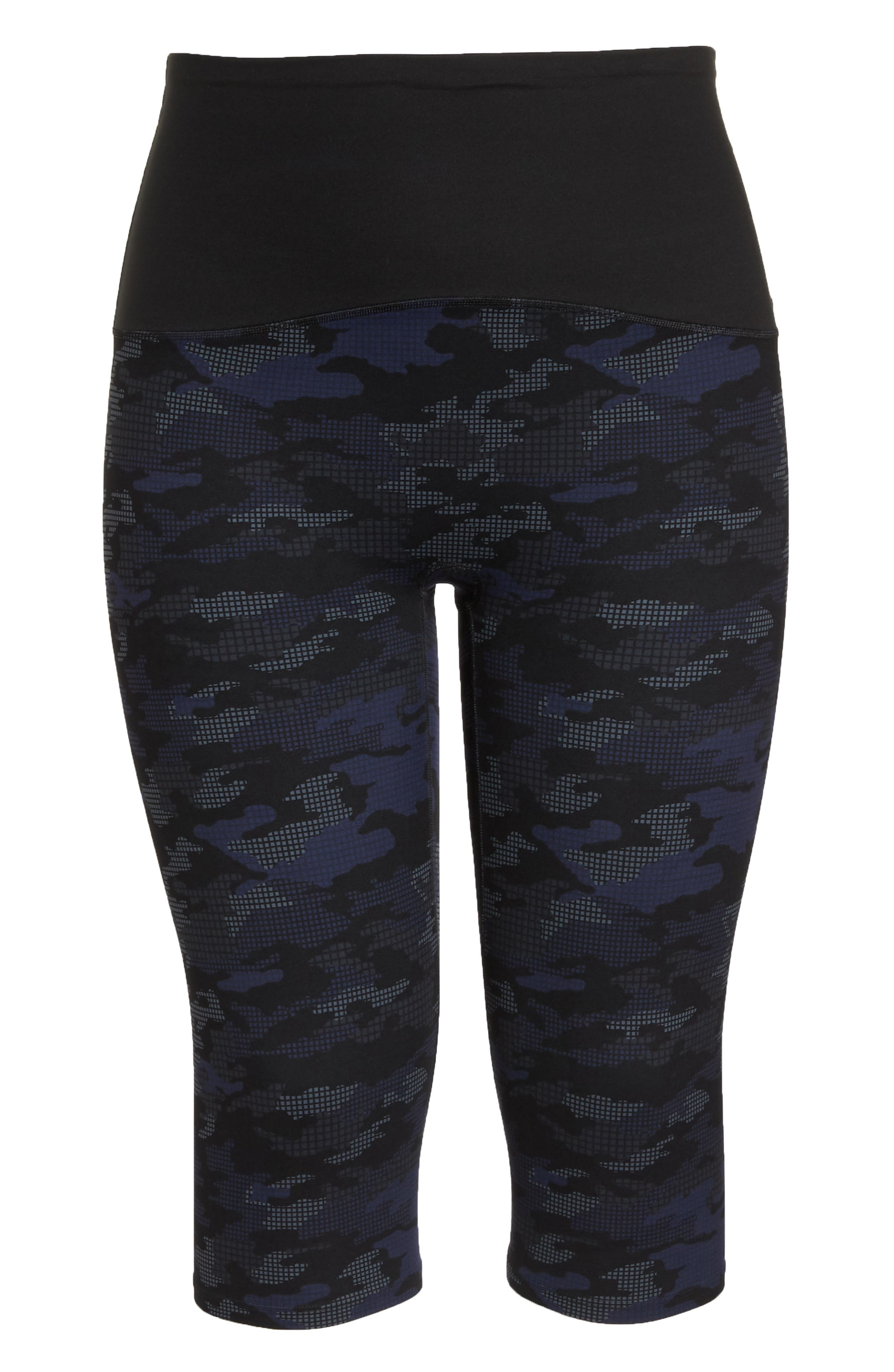 Print Active Crop Leggings,                             Alternate thumbnail 6, color,                             GEO BLUE CAMO