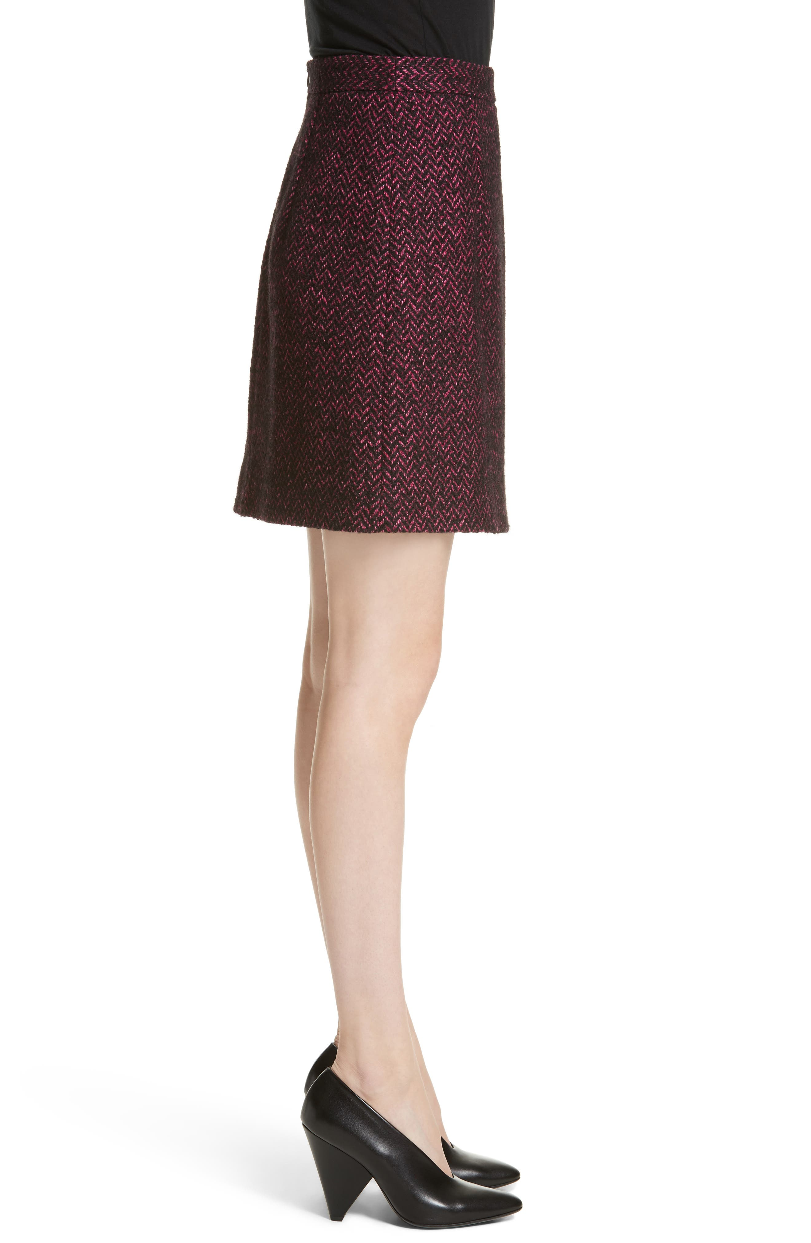 Herringbone Wool Blend A-Line Skirt,                             Alternate thumbnail 3, color,                             500