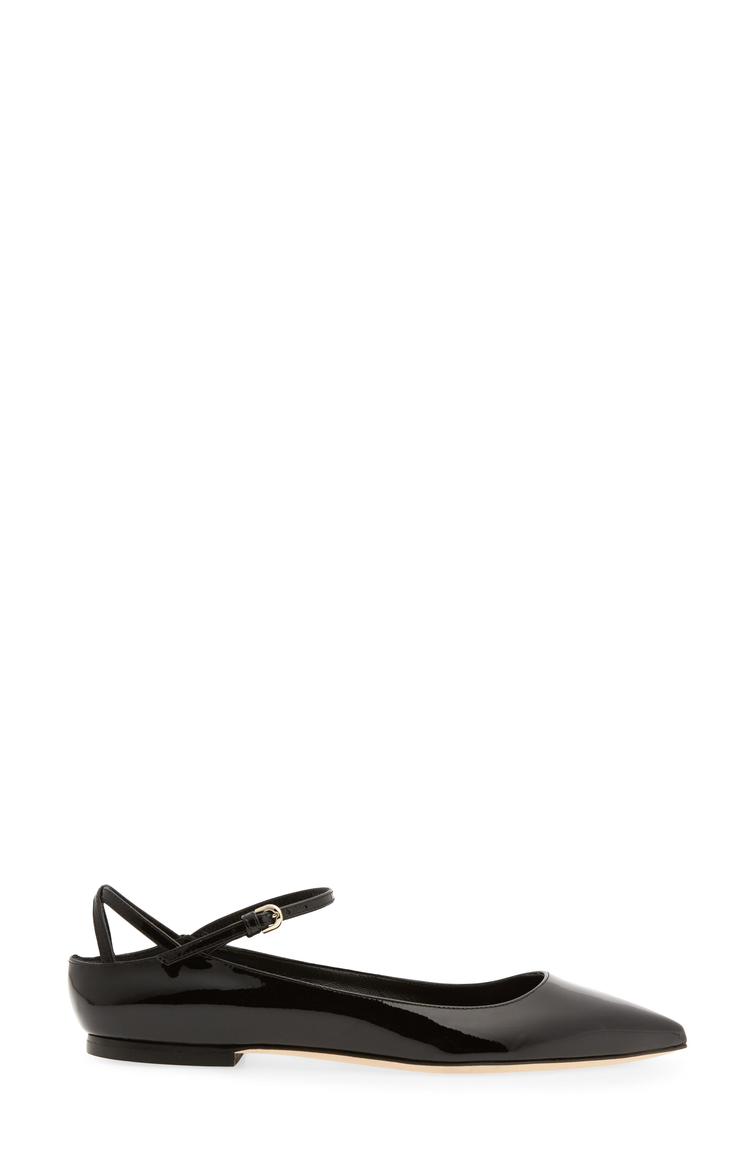 Astrid Ankle Strap Flat,                             Alternate thumbnail 3, color,                             BLACK PATENT