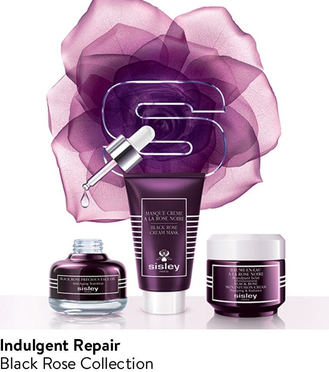 Indulgent repair black rose skin care collection.