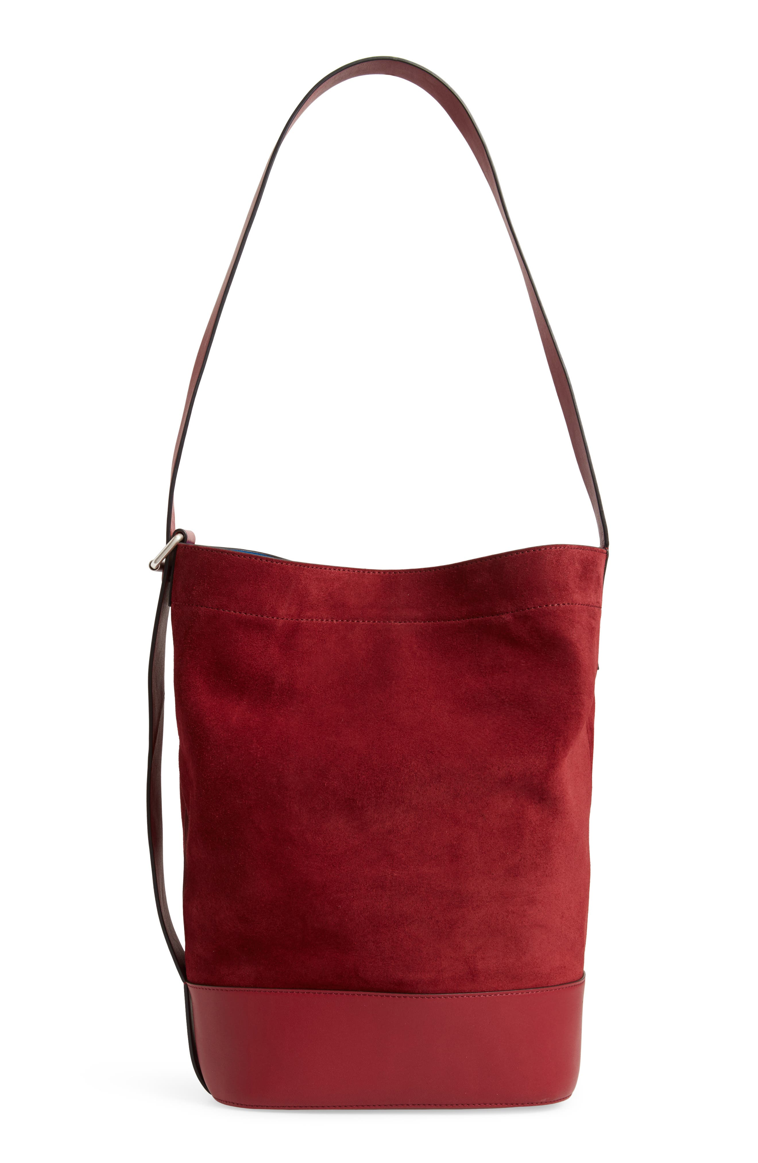Walker Sling Suede Bucket Bag,                             Alternate thumbnail 4, color,                             BIKING RED MULTI