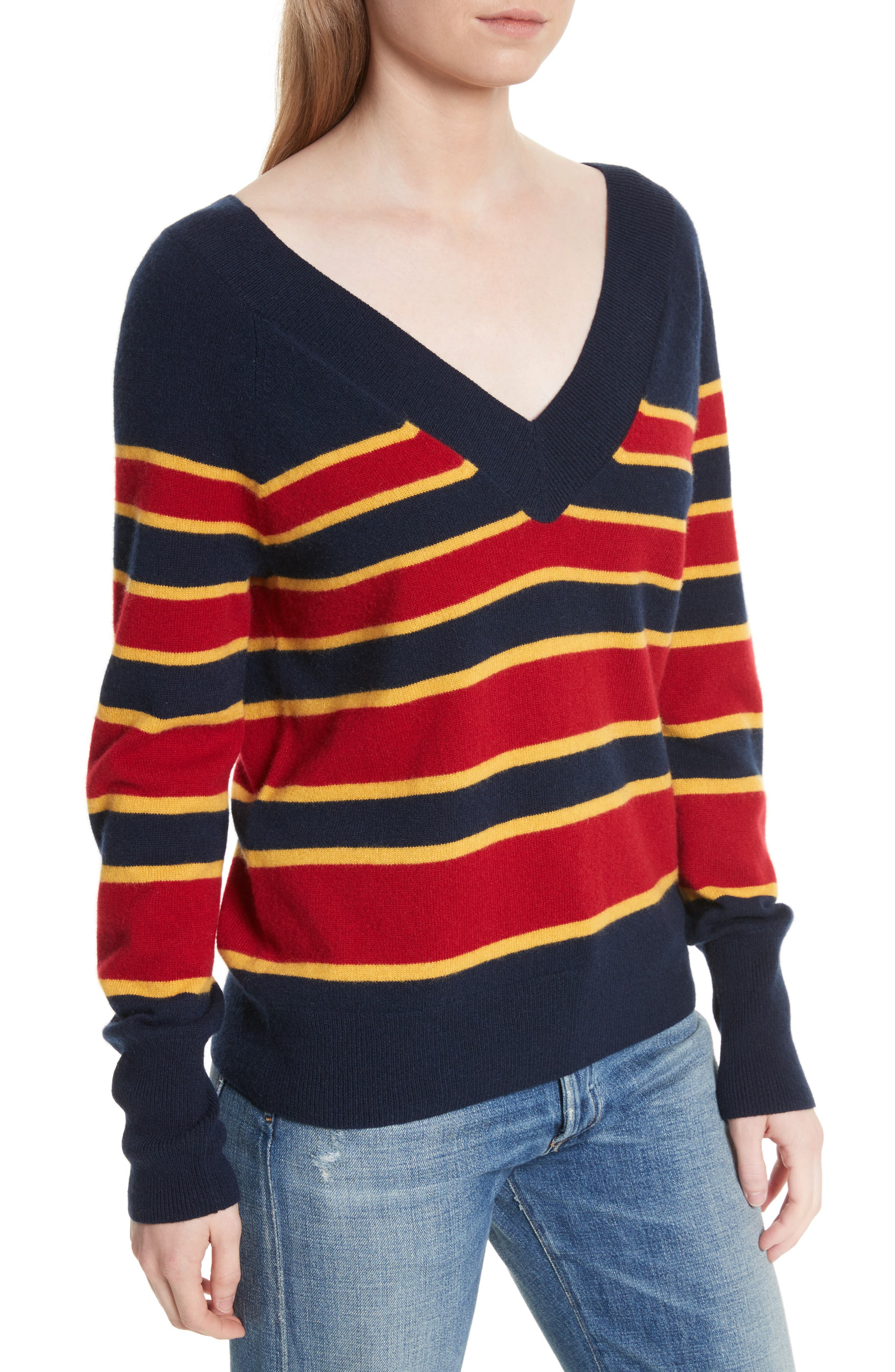 Dorothy Stripe Cashmere Sweater,                             Alternate thumbnail 4, color,                             402