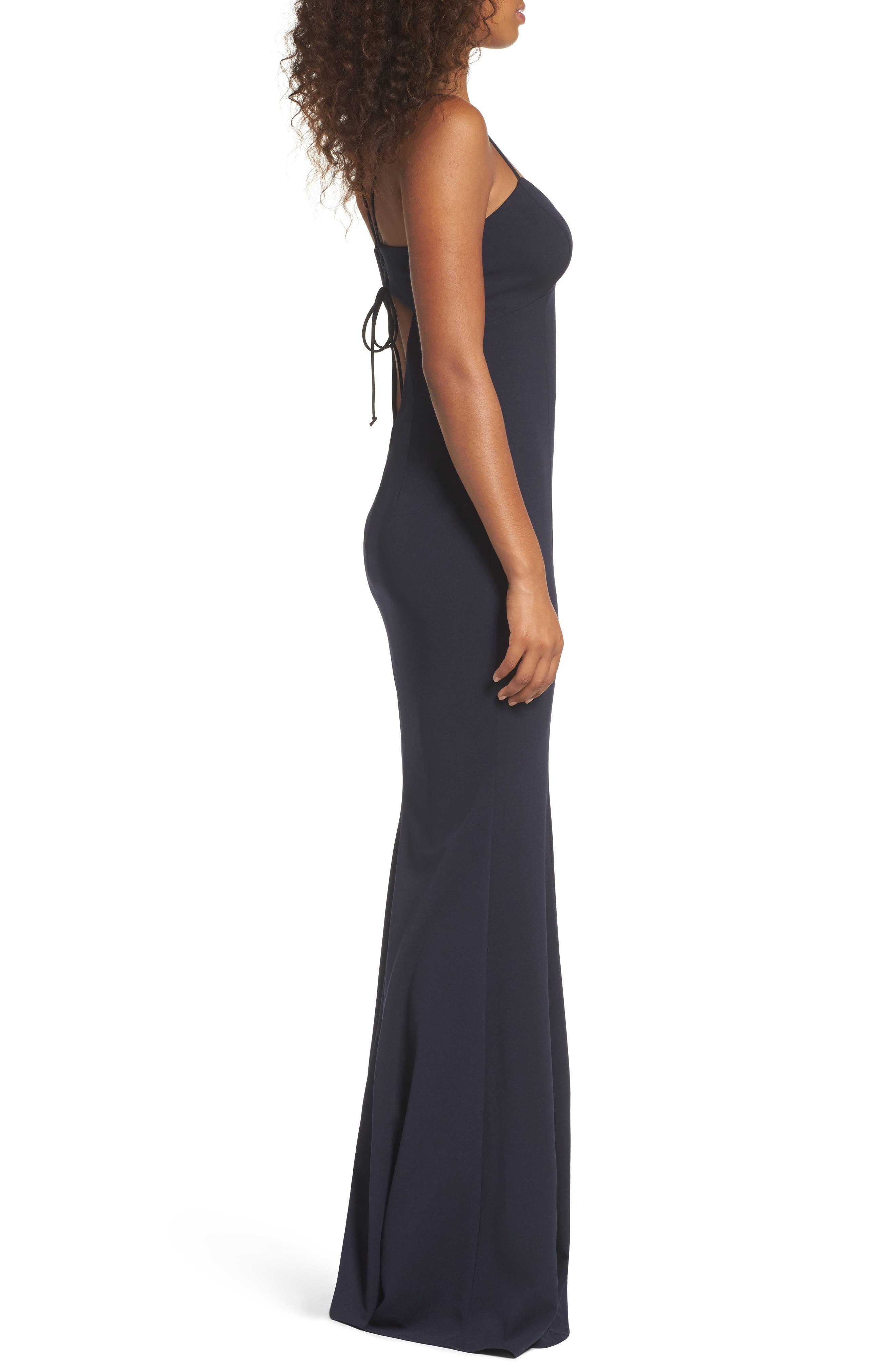 Luna Stretch Crepe Gown,                             Alternate thumbnail 3, color,                             NAVY