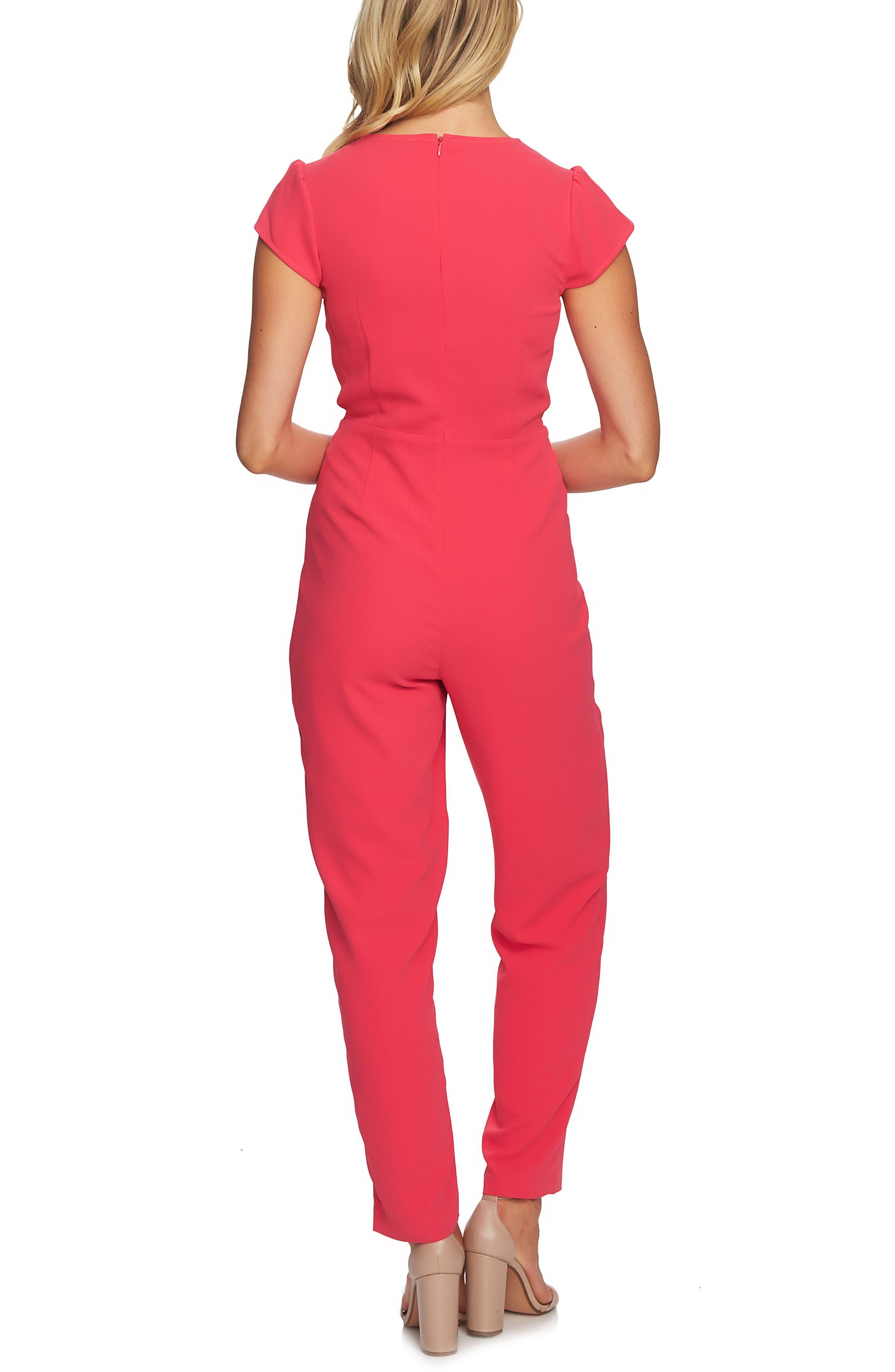 CECE,                             Cap Sleeve Faux Wrap Jumpsuit,                             Alternate thumbnail 2, color,                             659