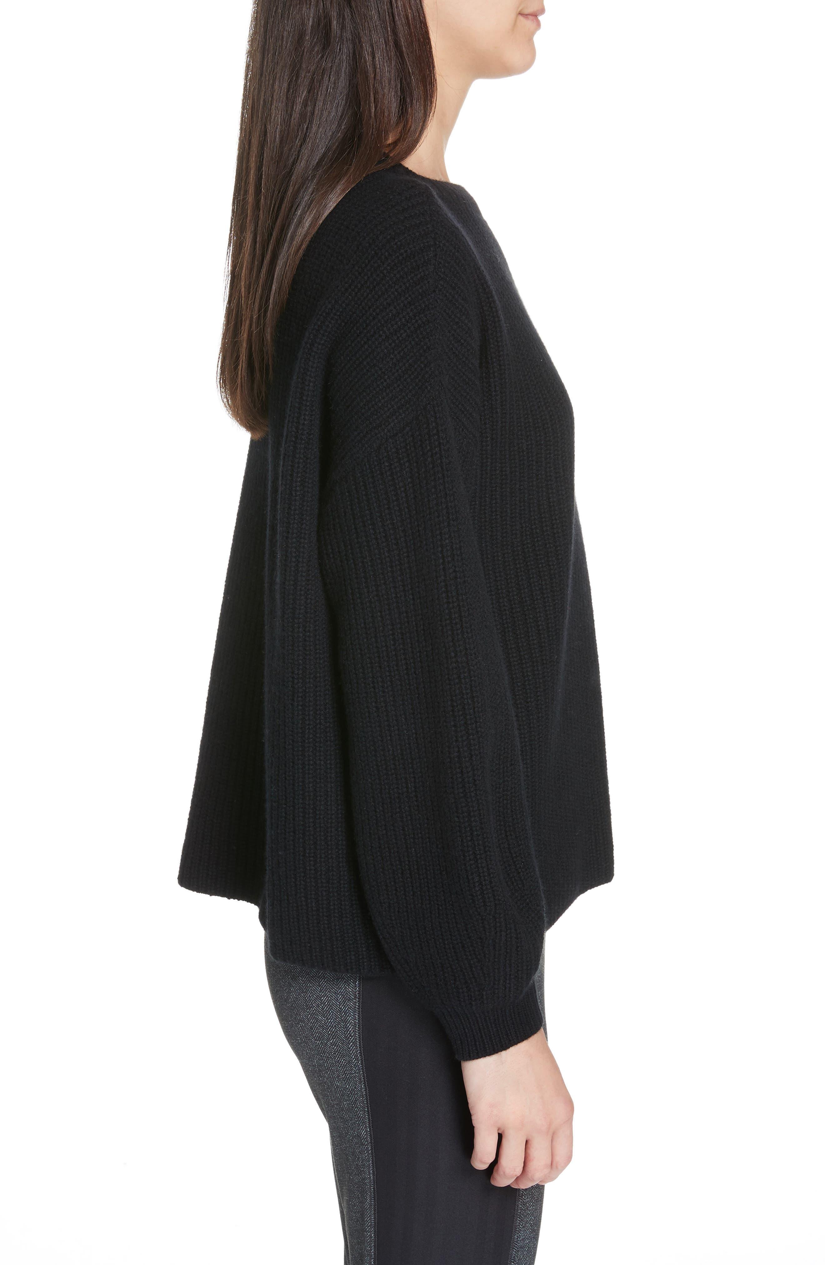 Crewneck Shaker Cashmere Sweater,                             Alternate thumbnail 3, color,                             BLACK