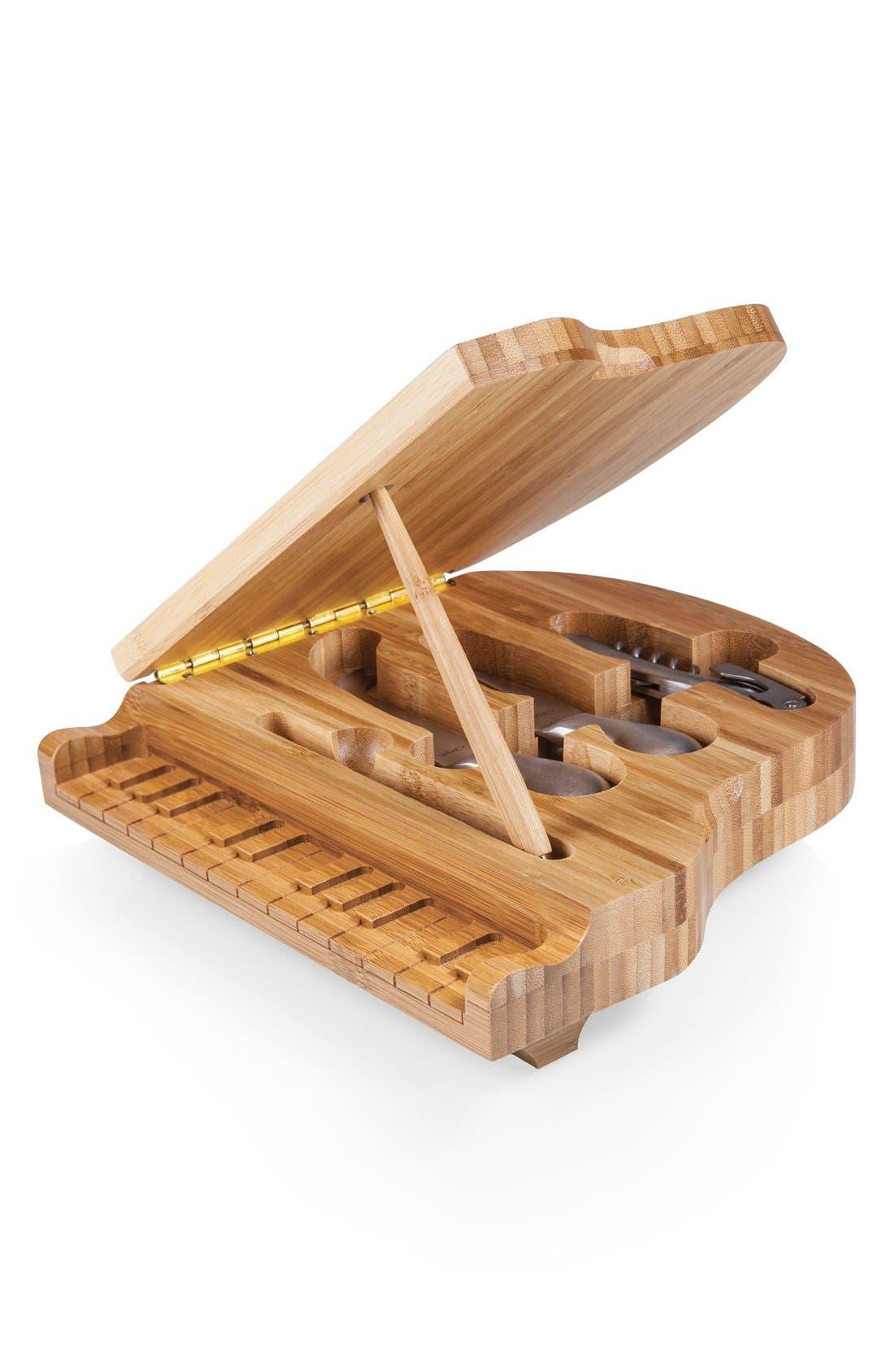 'Piano' Cheese Board Set,                         Main,                         color, BROWN