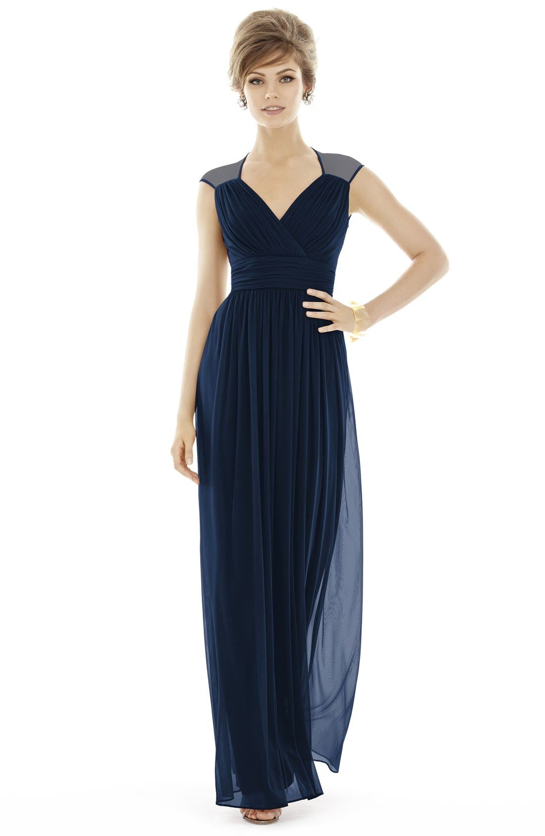 ALFRED SUNG,                             Shirred Chiffon Cap Sleeve Gown,                             Alternate thumbnail 2, color,                             MIDNIGHT